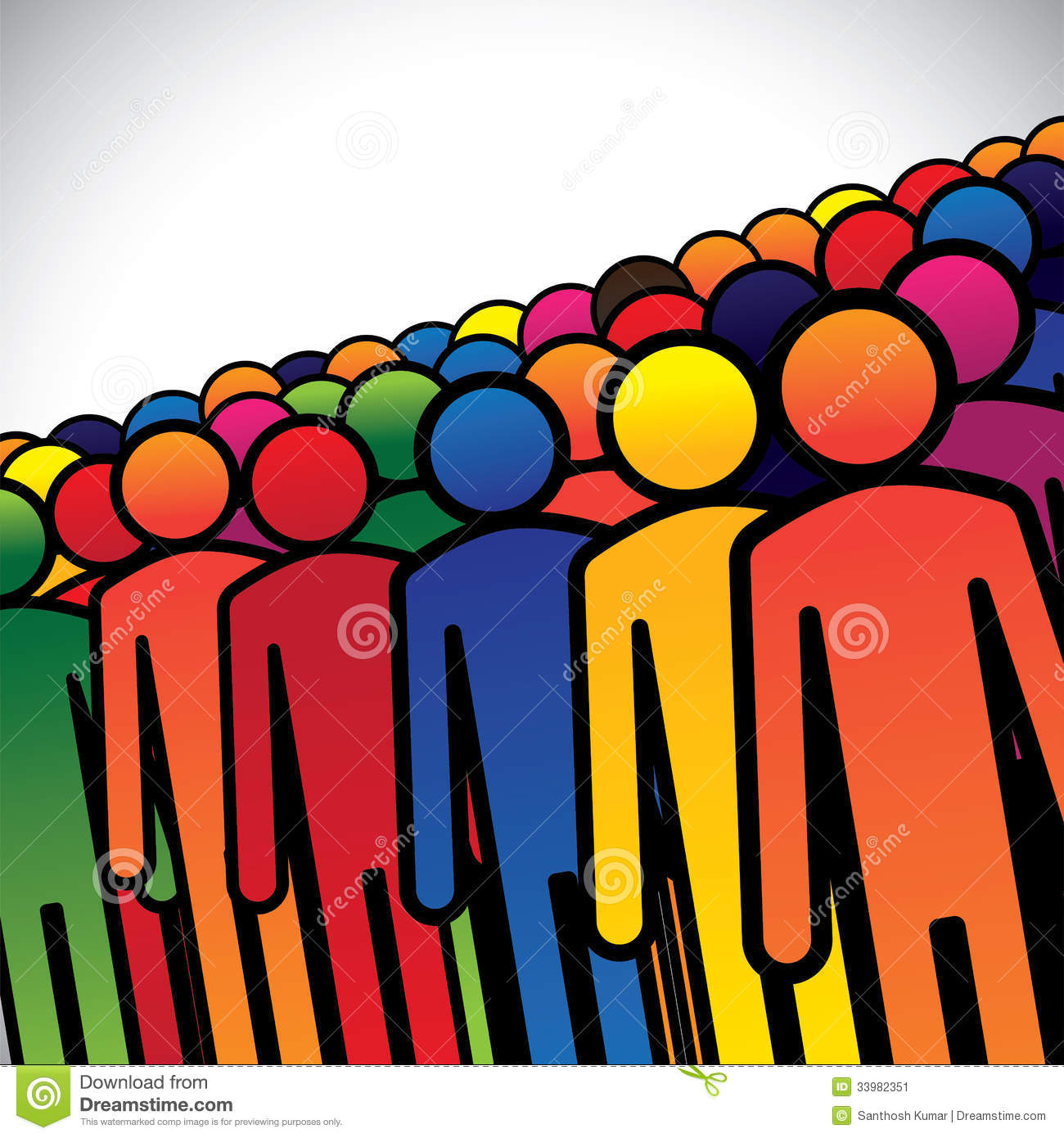 abstract colorful group of people or workers or employees