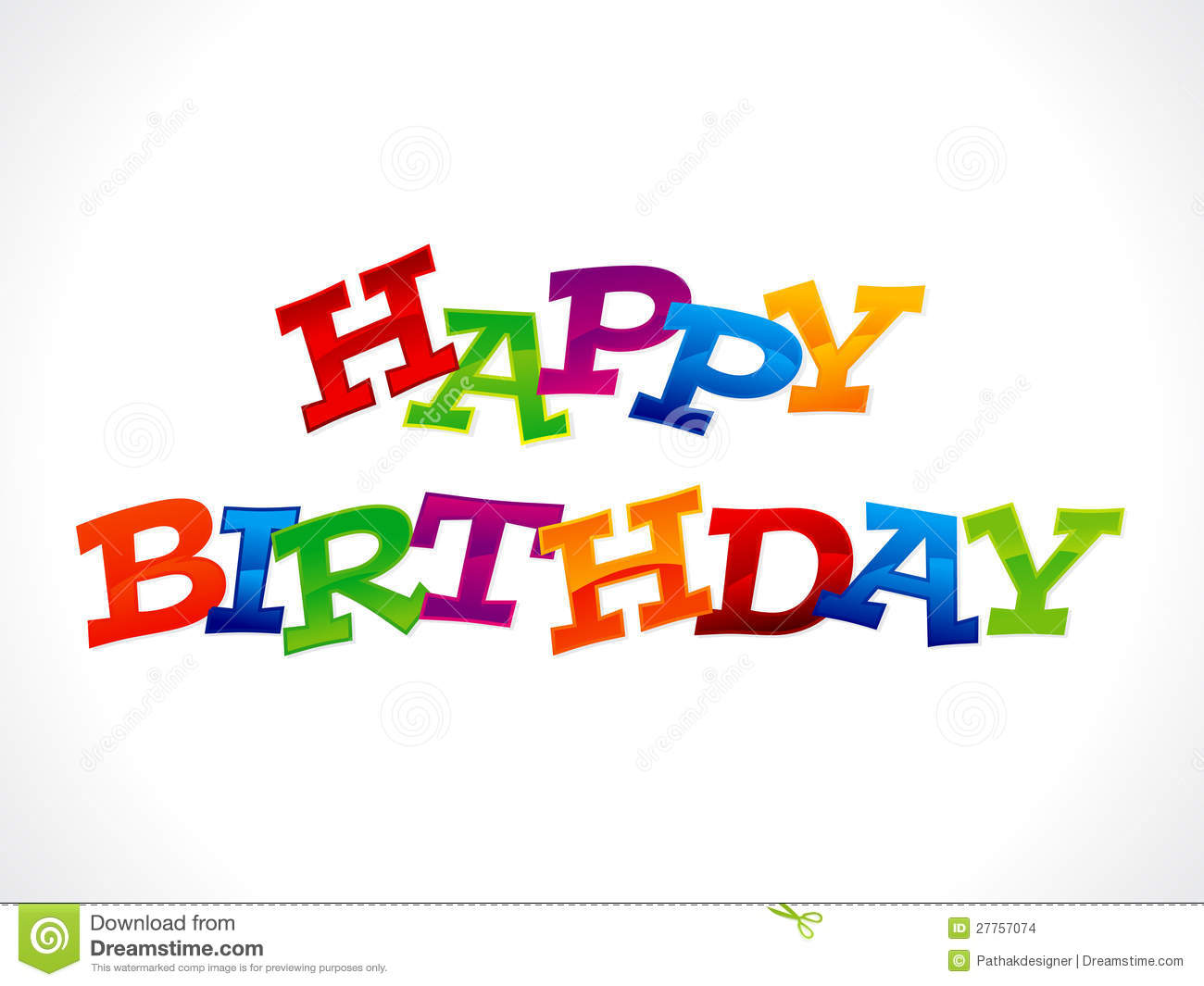 Abstract Colorful Happy Birthday Text Stock Images - Image: 27757074