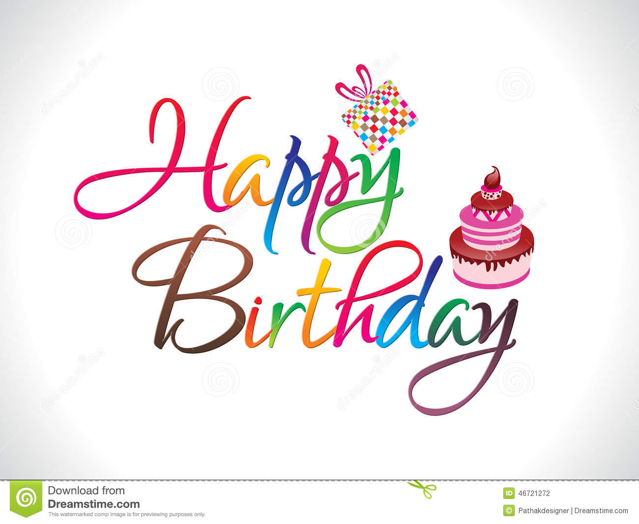 Abstract Colorful Happy Birthday Text Stock Vector