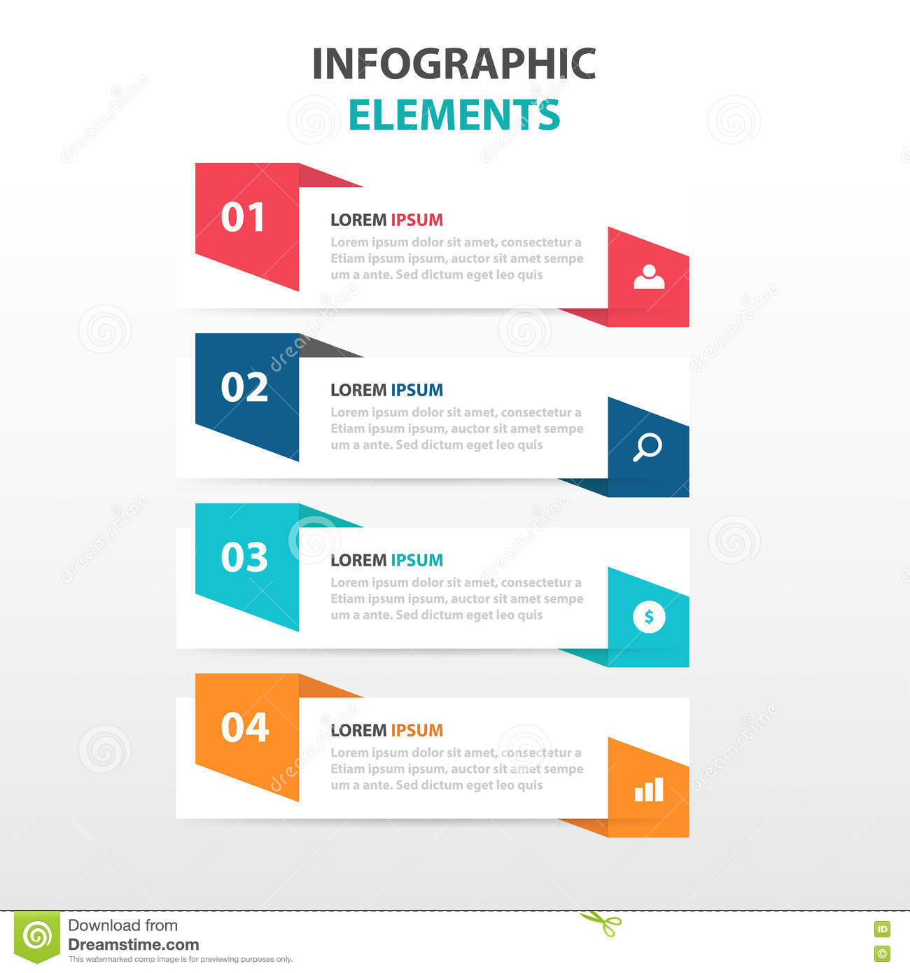 Abstract colorful label with magnifying glass business Infographics elements, presentation template flat design vector