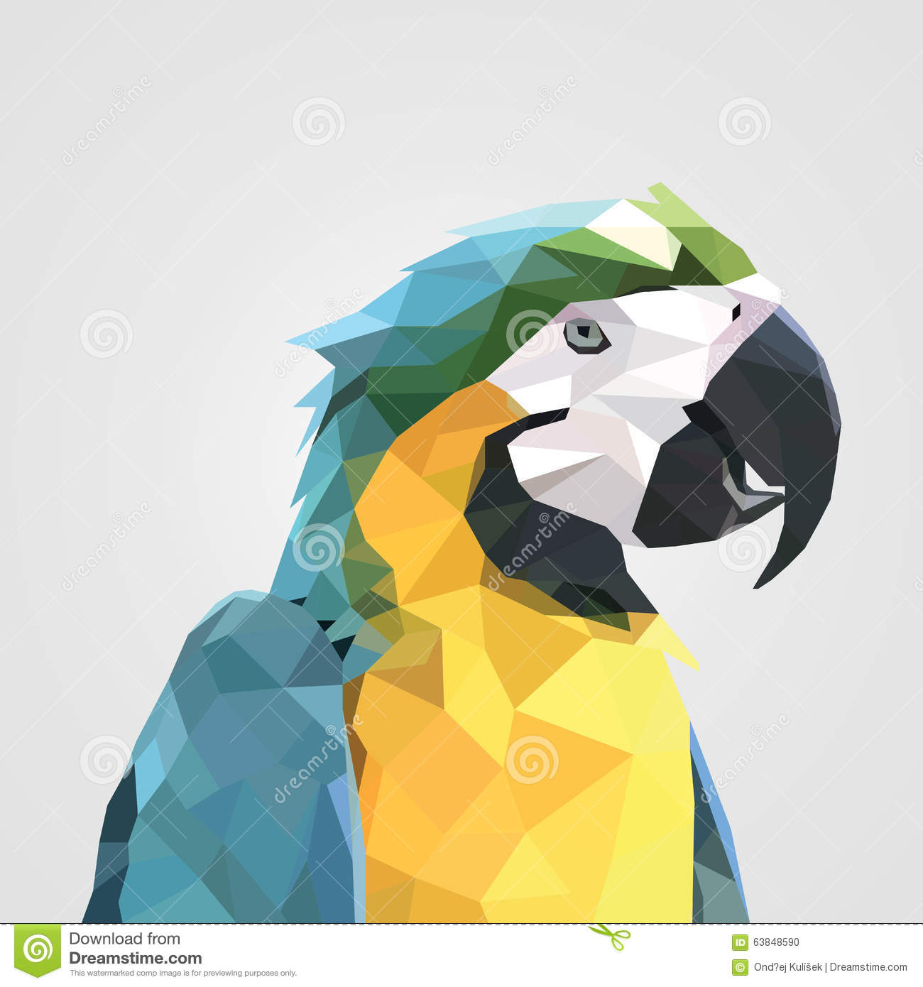 Abstract Colorful Low Polygon Macaw Parrot Head. Vector Illustration ...