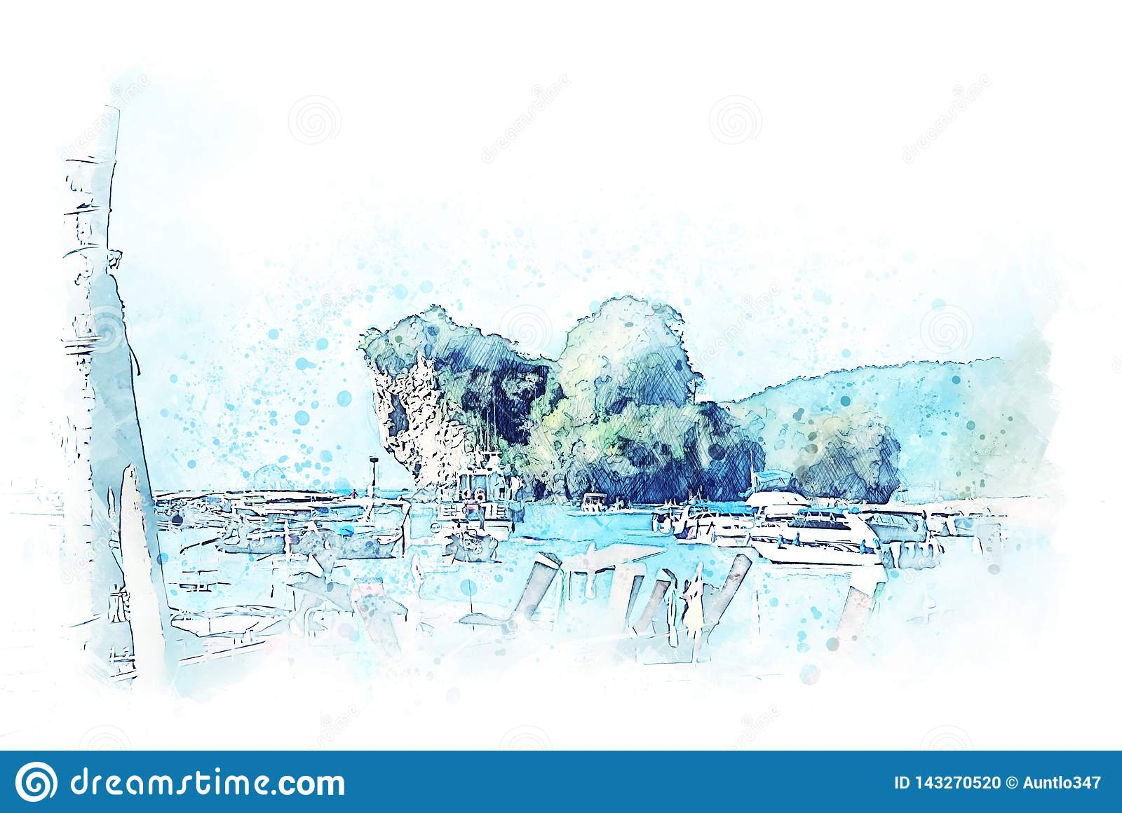 Abstract colorful mountain range and tree landscape watercolor illustration painting