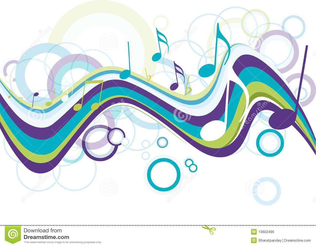 Abstract Music Notes Art: Abstract Colorful Music Note Royalty Free Stock Image
