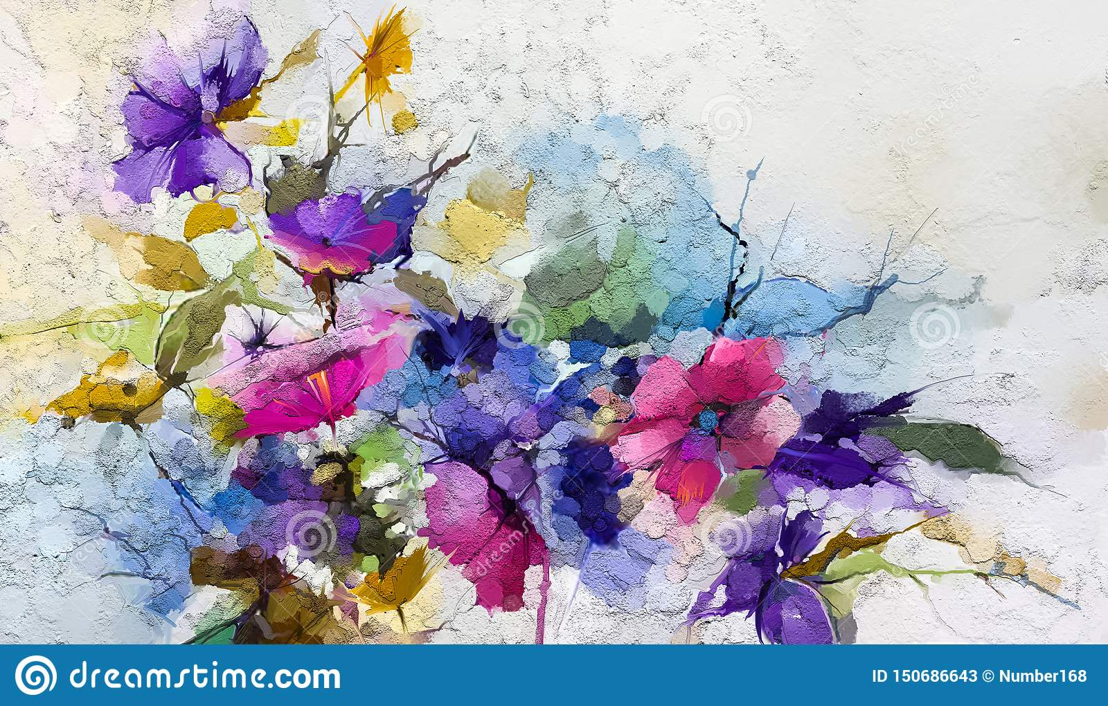 Abstract Colorful Oil Acrylic Painting Of Spring Flower