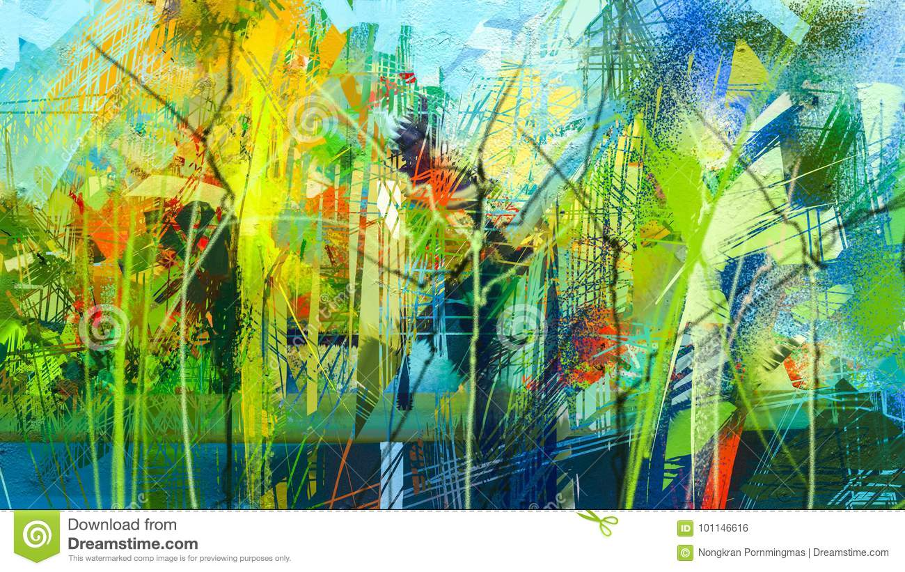 Abstract Colorful Oil Painting On Canvas Texture. Stock Illustration ...