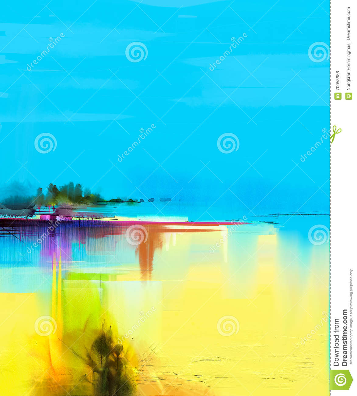Abstract colorful oil painting landscape on canvas stock for What paint for canvas