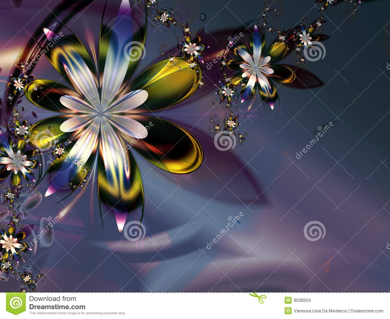 Abstract Colorful Purple Green Fractal Flower Dark