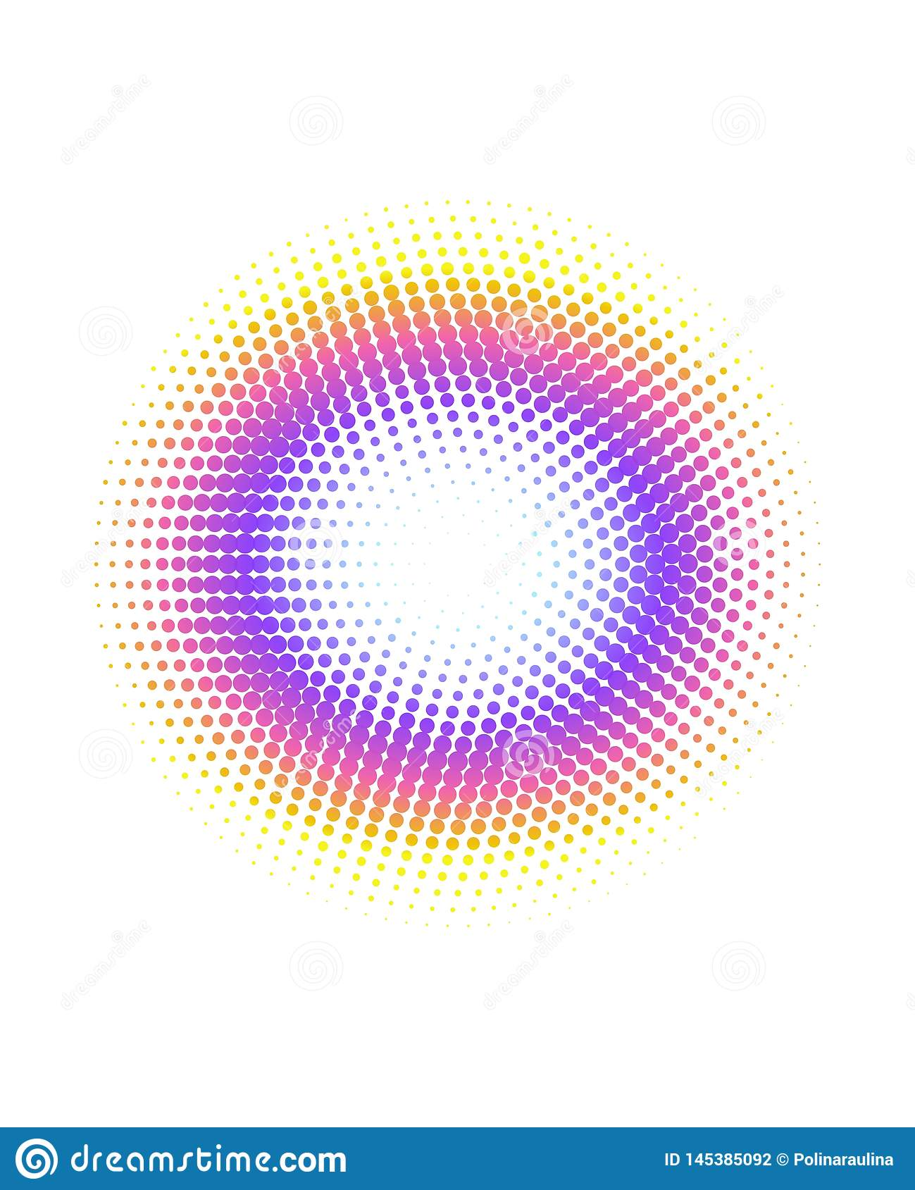 Abstract colorful rainbow halftone circle dots pattern background.