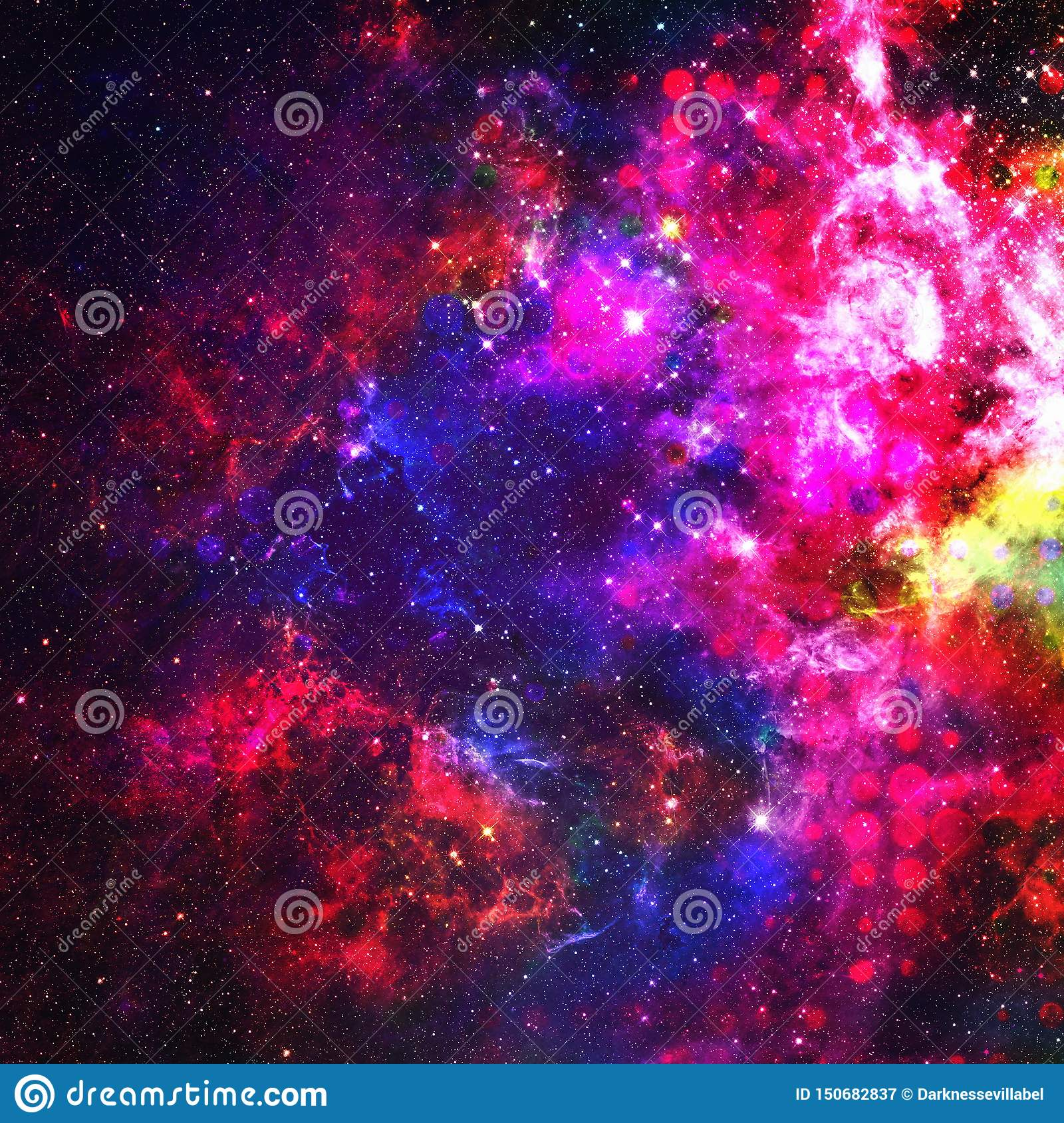 Abstract Colorful Space Background Stars Of A Planet And Galaxy In Outer Space In A Neon Pink Color Space Background And Texture Stock Illustration Illustration Of Multicolor Paint 150682837