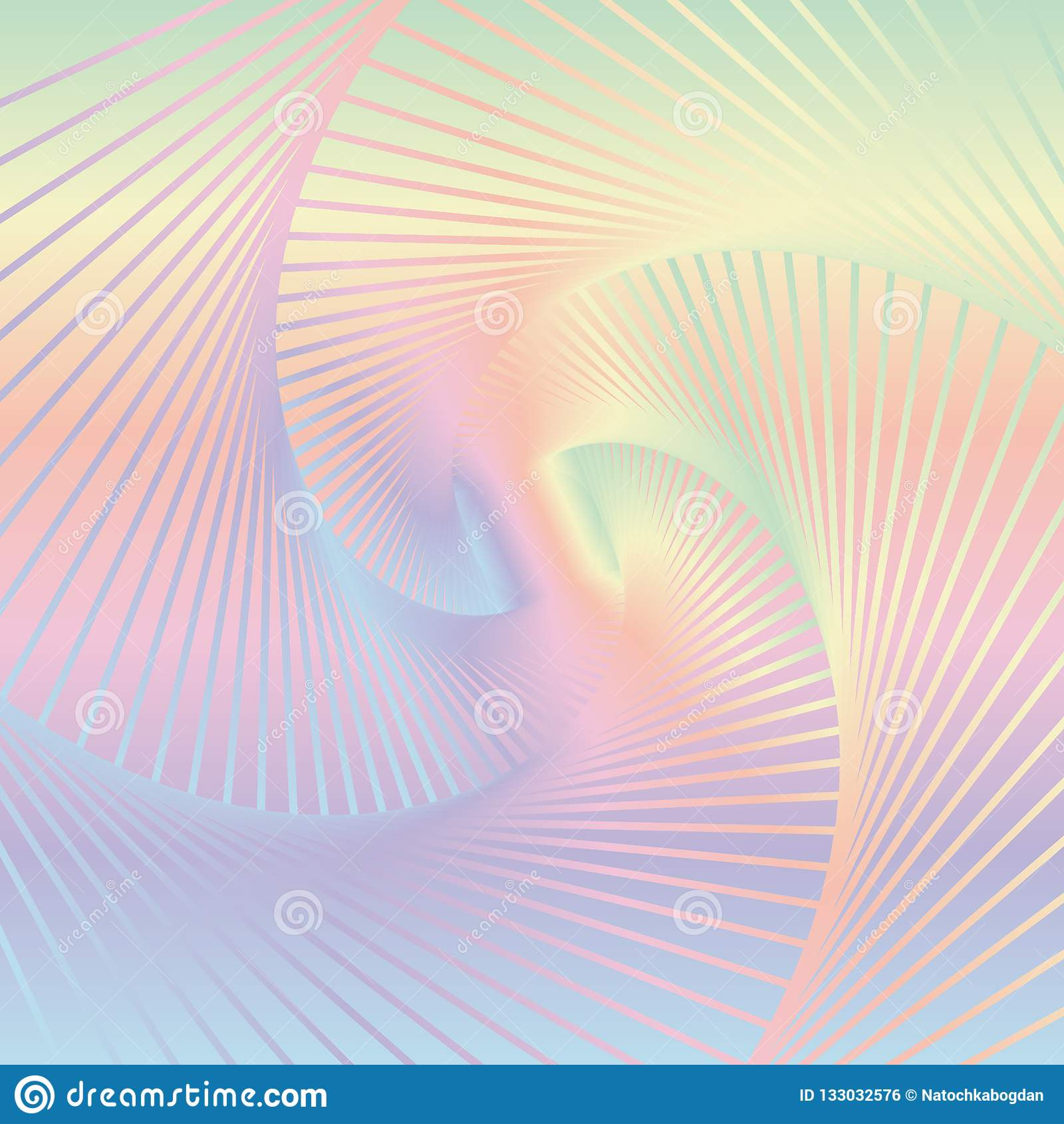 Abstract colorful spiral background. Image of twisting lines on