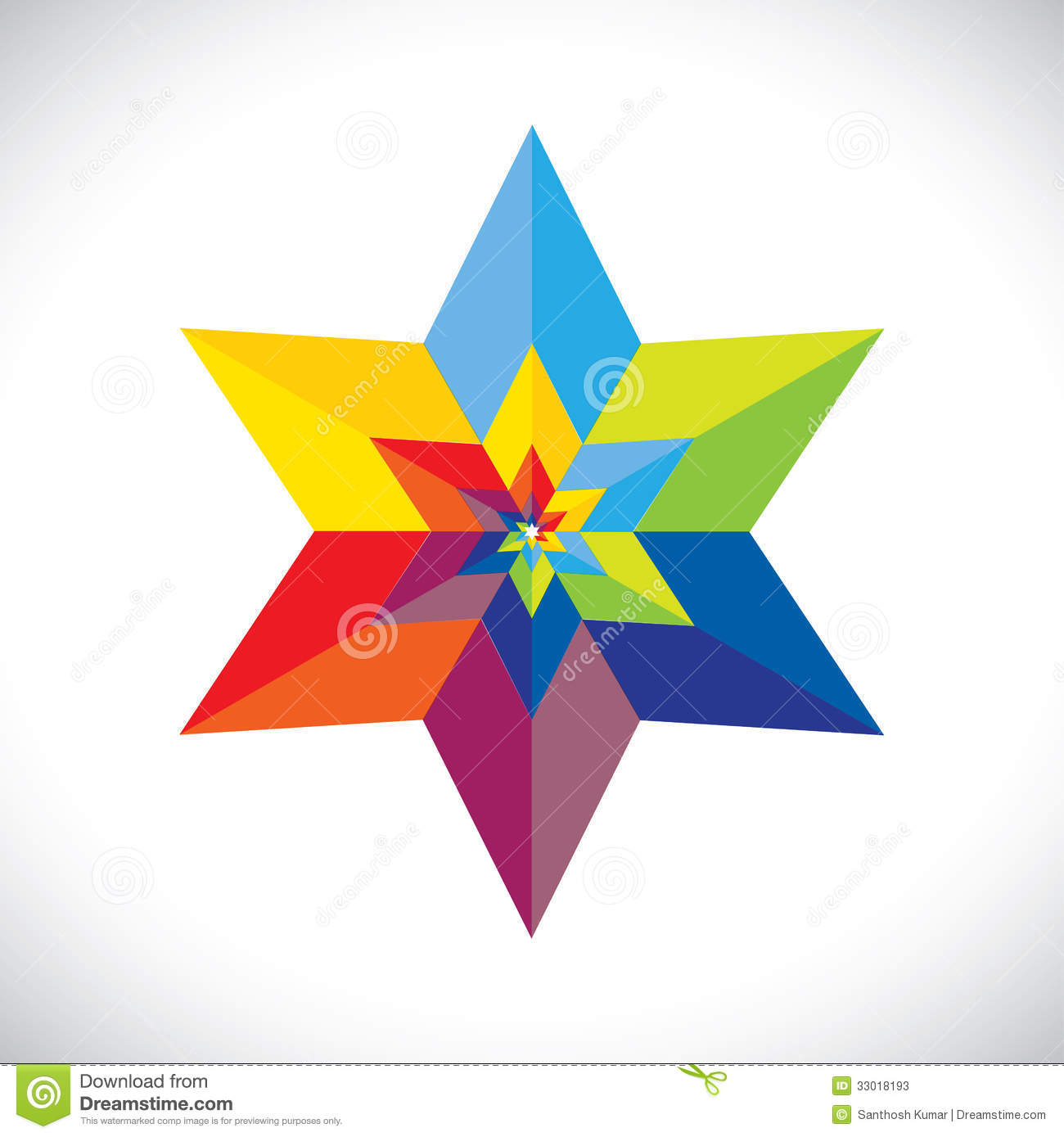 Abstract colorful star shape with six sides vector graphic. This