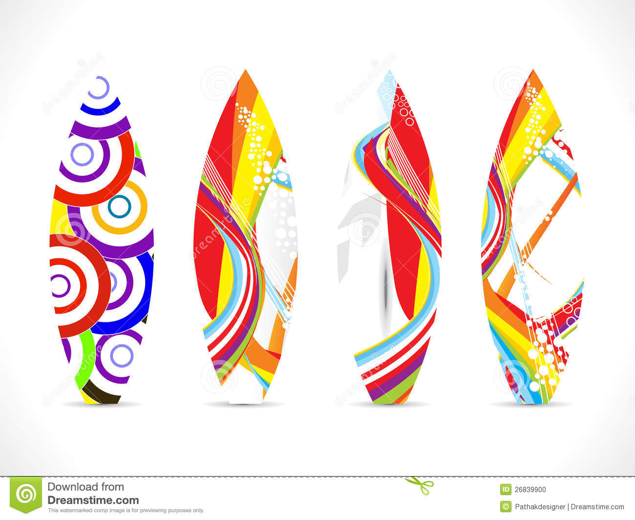 abstract colorful surf board template stock vector illustration of