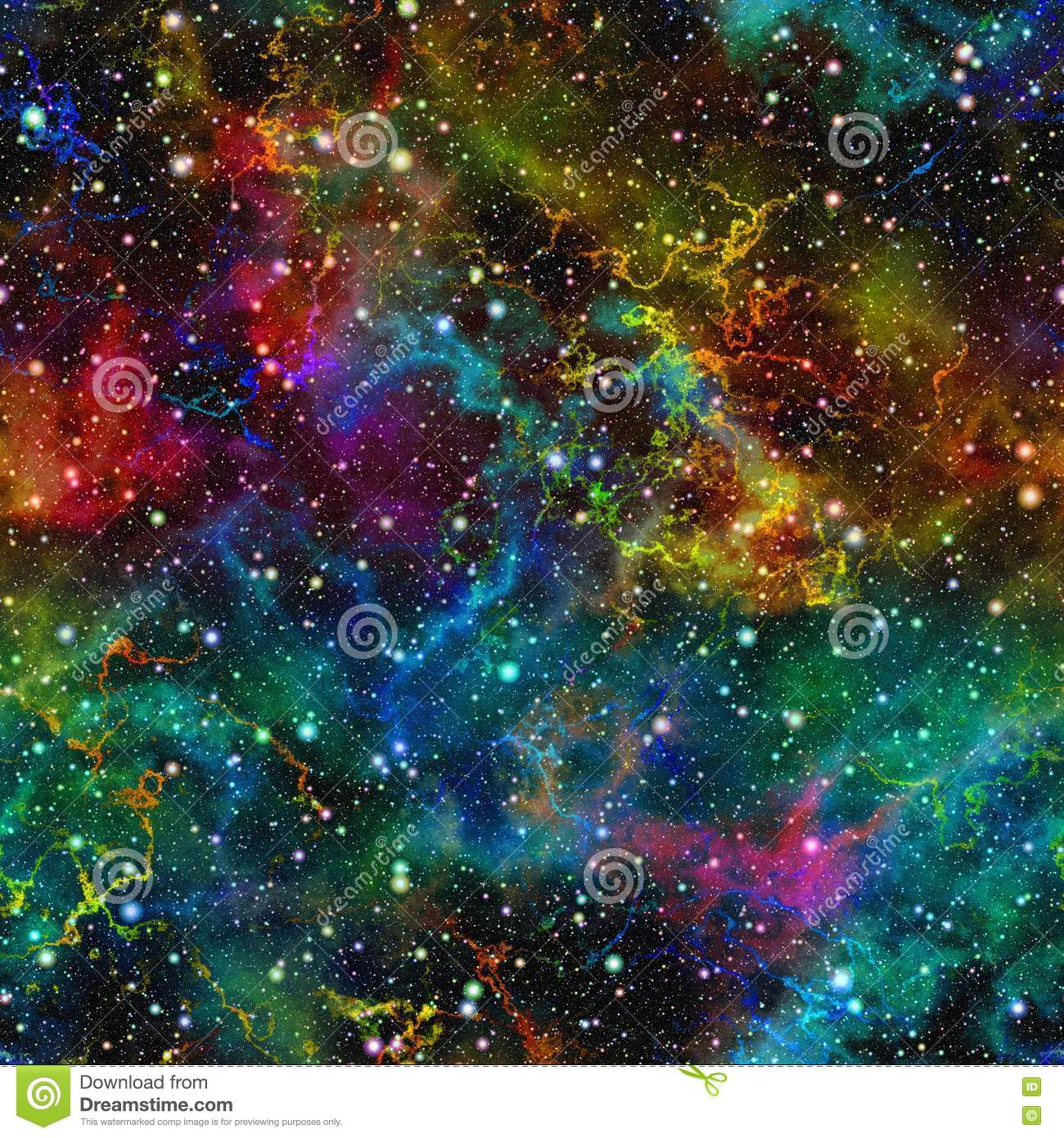 Abstract colorful universe. Nebula night starry sky. Multicolor outer space. Texture background. Seamless illustration.
