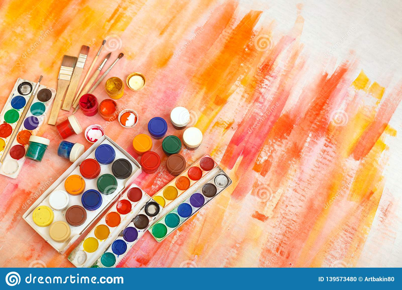 Abstract Colorful Watercolor For Background. Artist Tools, Watercolor,  Gouache Stock Photo - Image Of Creative, Background: 139573480