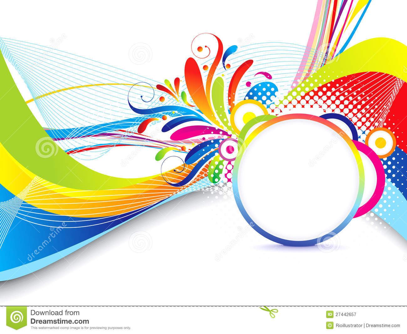 Abstract Volleyball On Colorful Wave Background: Abstract Colorful Wave Background With Floral Royalty Free