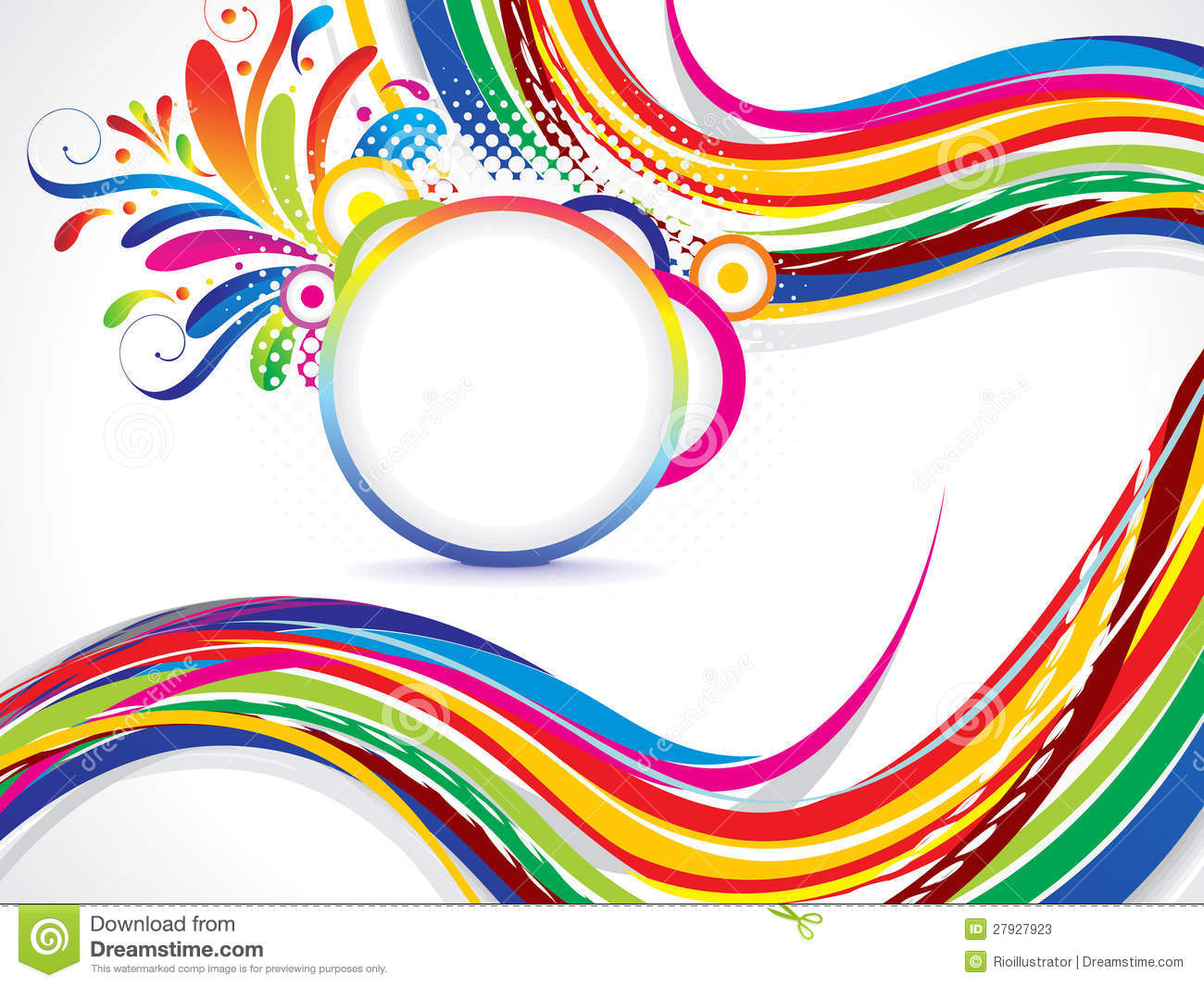 Abstract Volleyball On Colorful Wave Background: Abstract Colorful Wave Background With Floral Stock Vector
