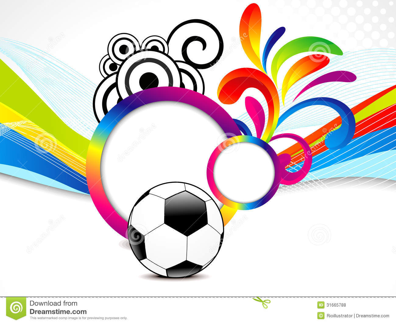 Abstract Background With Sport Icons Royalty Free Vector: Abstract Colorful Wave Background With Football Stock