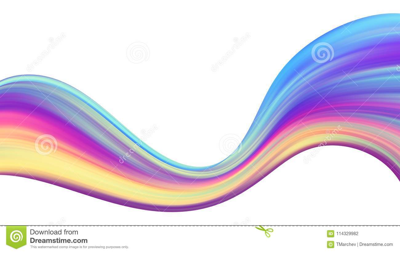 Abstract Colorful Wave Background Isolated On White Stock