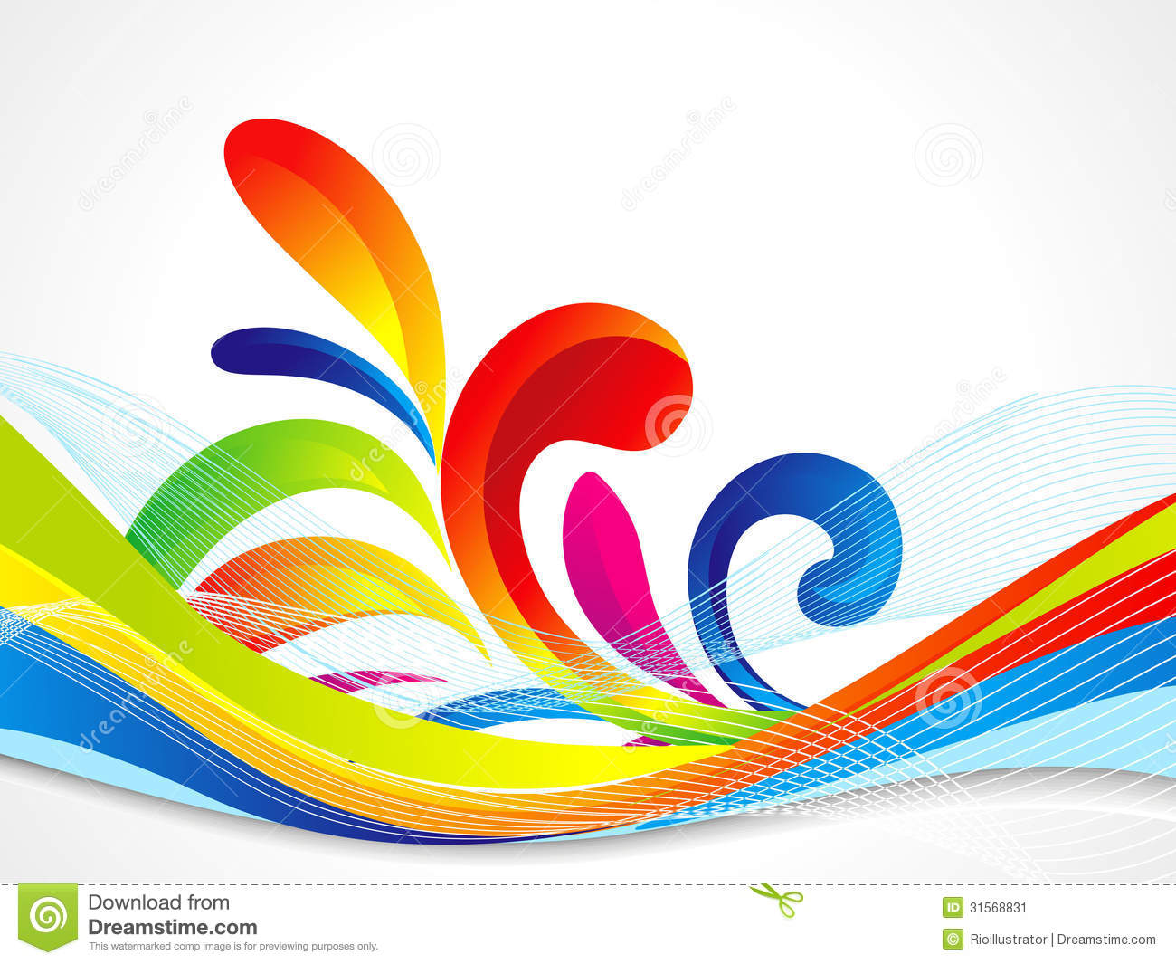 Abstract Volleyball On Colorful Wave Background: Abstract Colorful Wave Background Stock Image