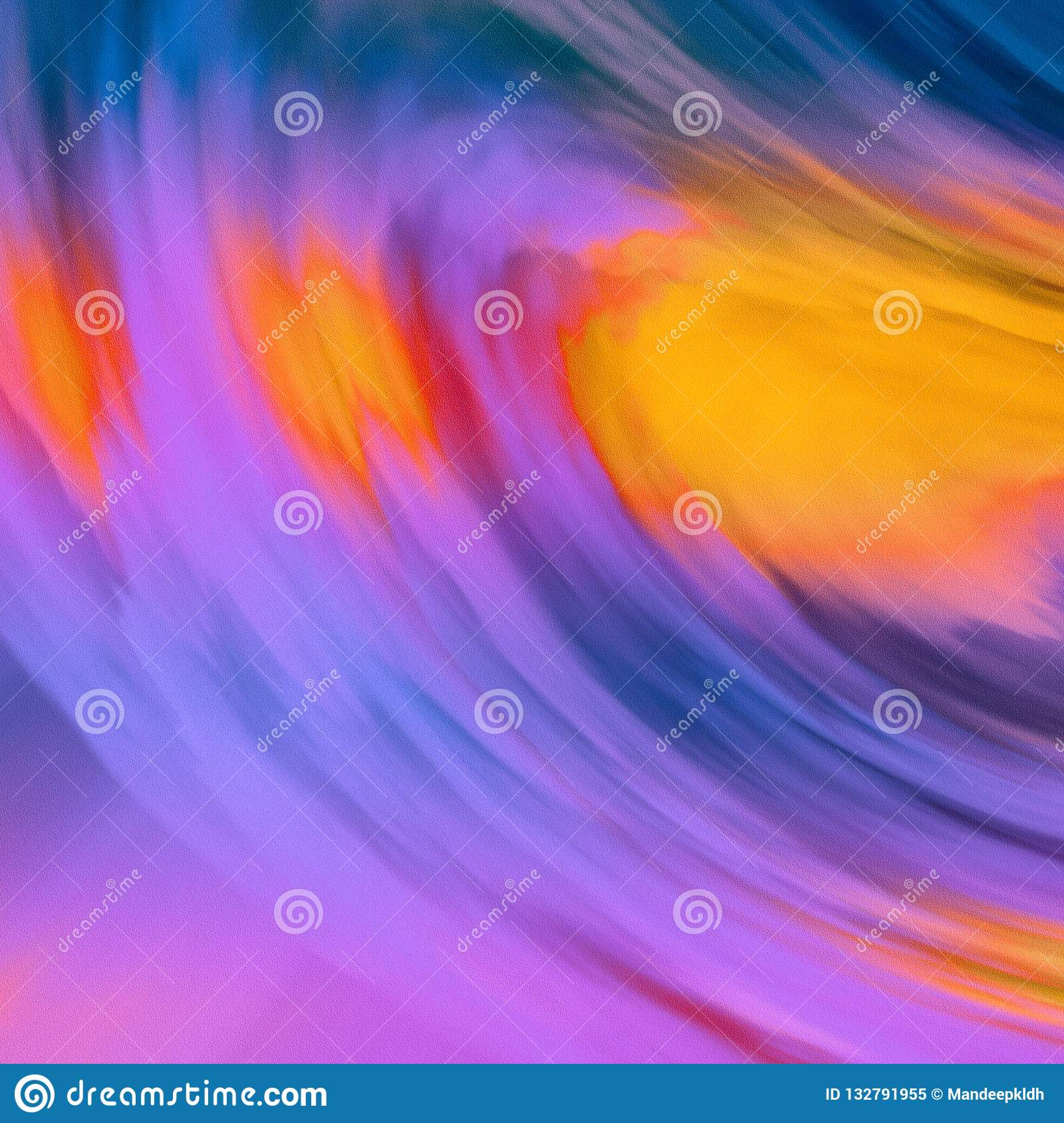 Abstract Colorful wavy theme design with purple & orange tone. Bright glowing canvas paint. Brush strokes hand drawn canvas print.