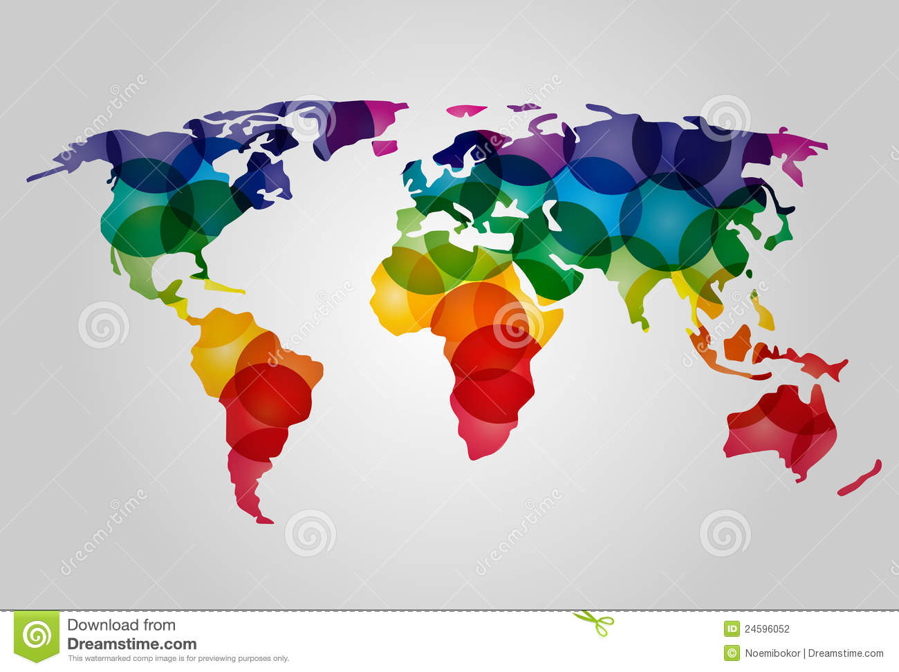 Marvelous Abstract Colorful World Map