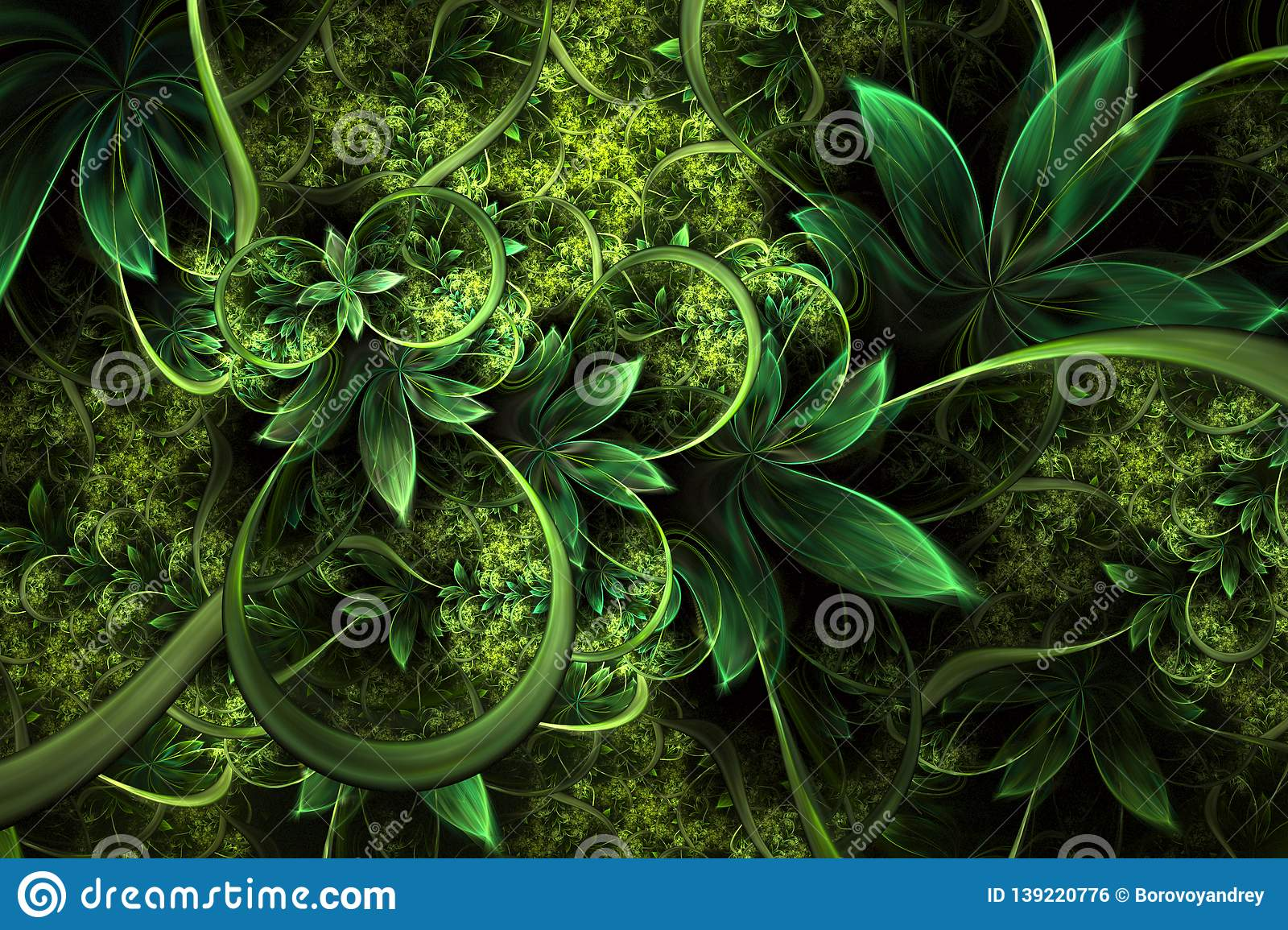 Abstract Computer Generated Plant Fractal Design Digital