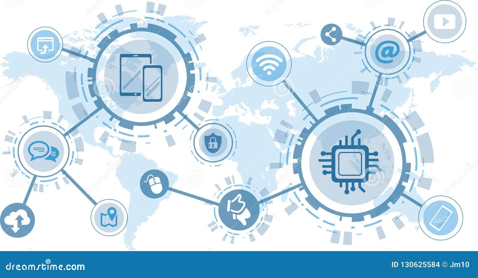 Digitalization and mobile communication concept - vector illustration