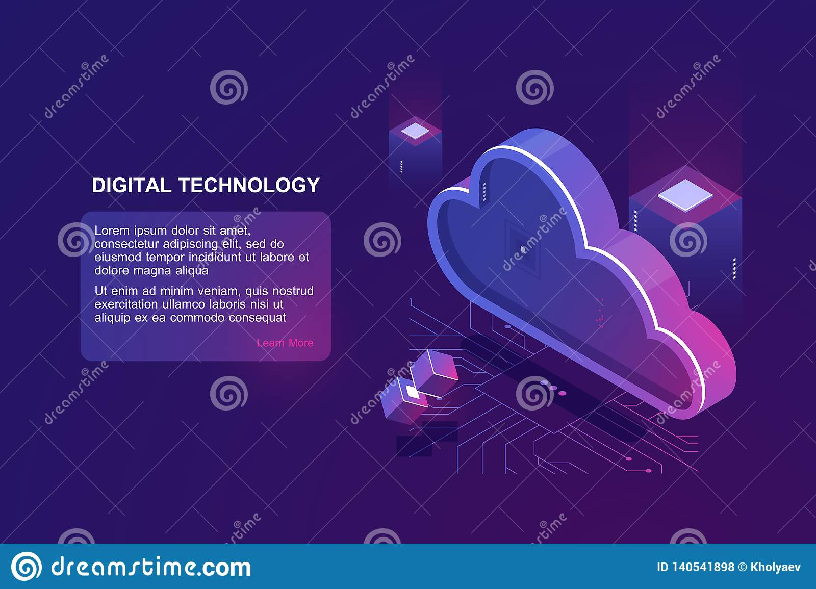 Abstract concept of digital cloud computing, cloud data storage, server room, database and data warehouse, website