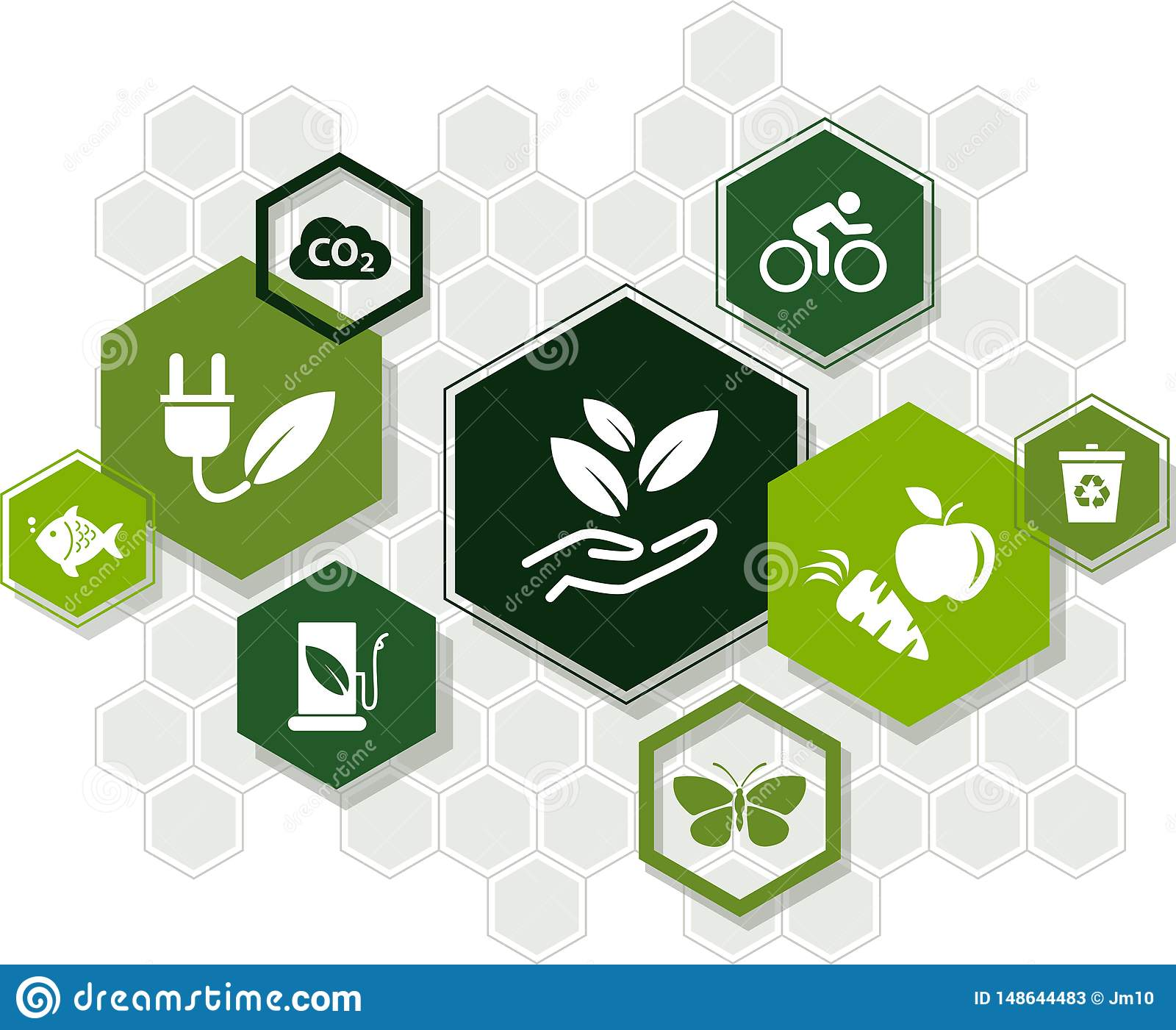 Sustainability icon concept: ecology, green energy, recycling, environmental protection – vector illustration