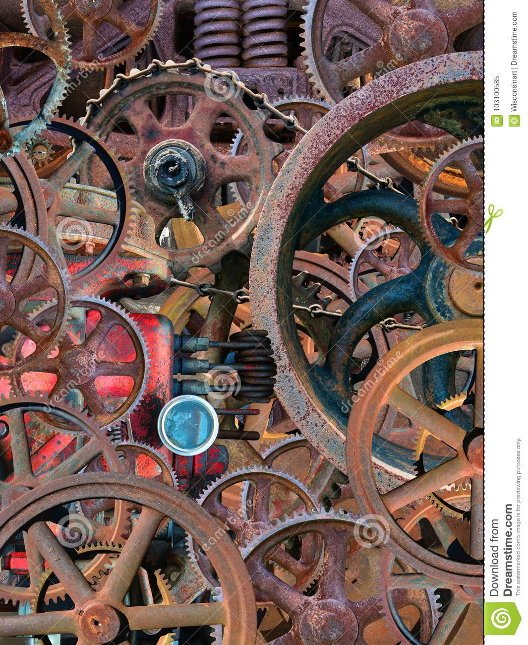 Steampunk Industrial Mechanical Wallpaper Background Stock