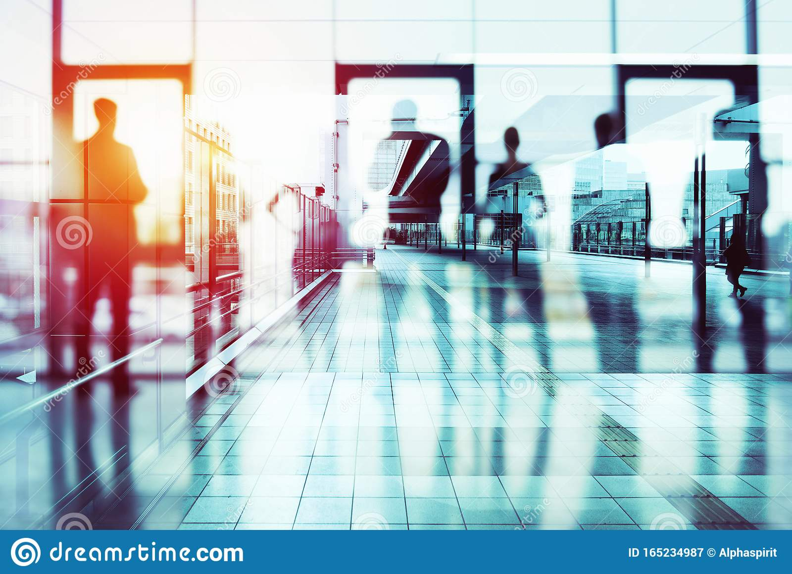 Background concept with business people silhouette looking out of the office. Double exposure effects
