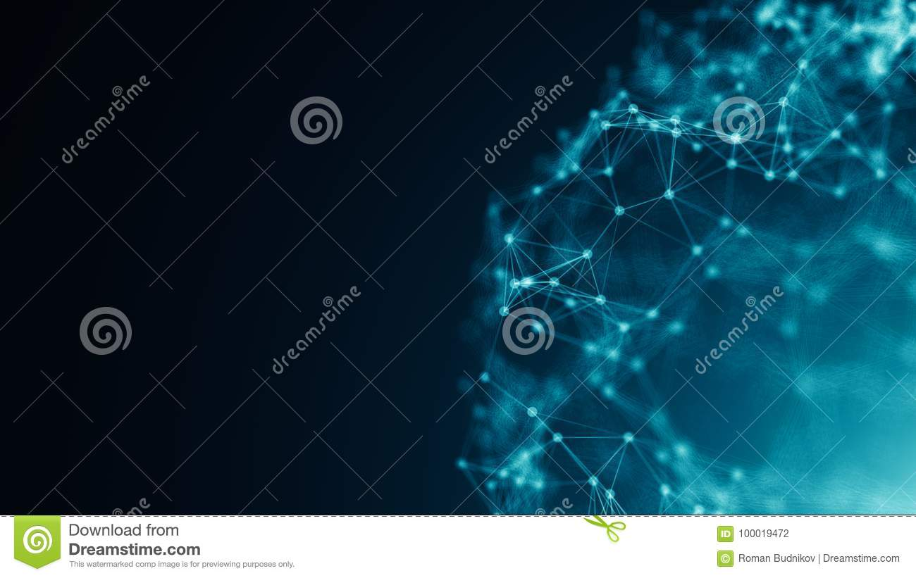 Abstract connection dots. Technology background. Digital drawing blue theme. Network concept