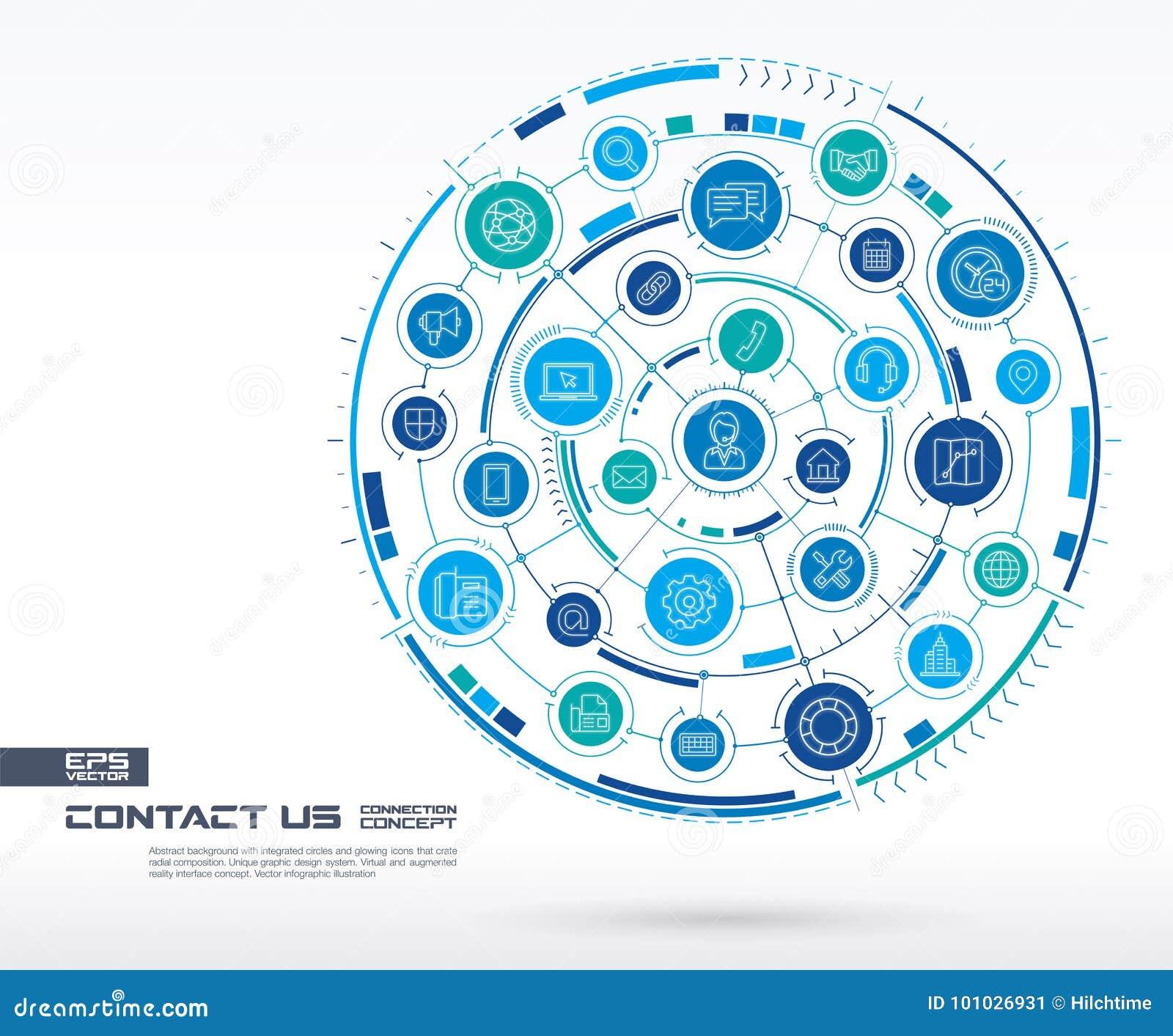 Abstract contacteer ons, call centreachtergrond Digitaal sluit systeem aan geïntegreerde cirkels, gloeiende dunne lijnpictogramme