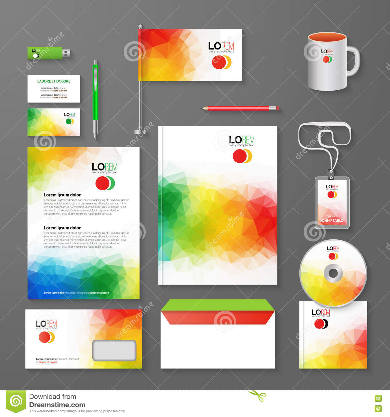 Abstract Corporate Business Identity Template Layout. Pen, CD, Cup ...