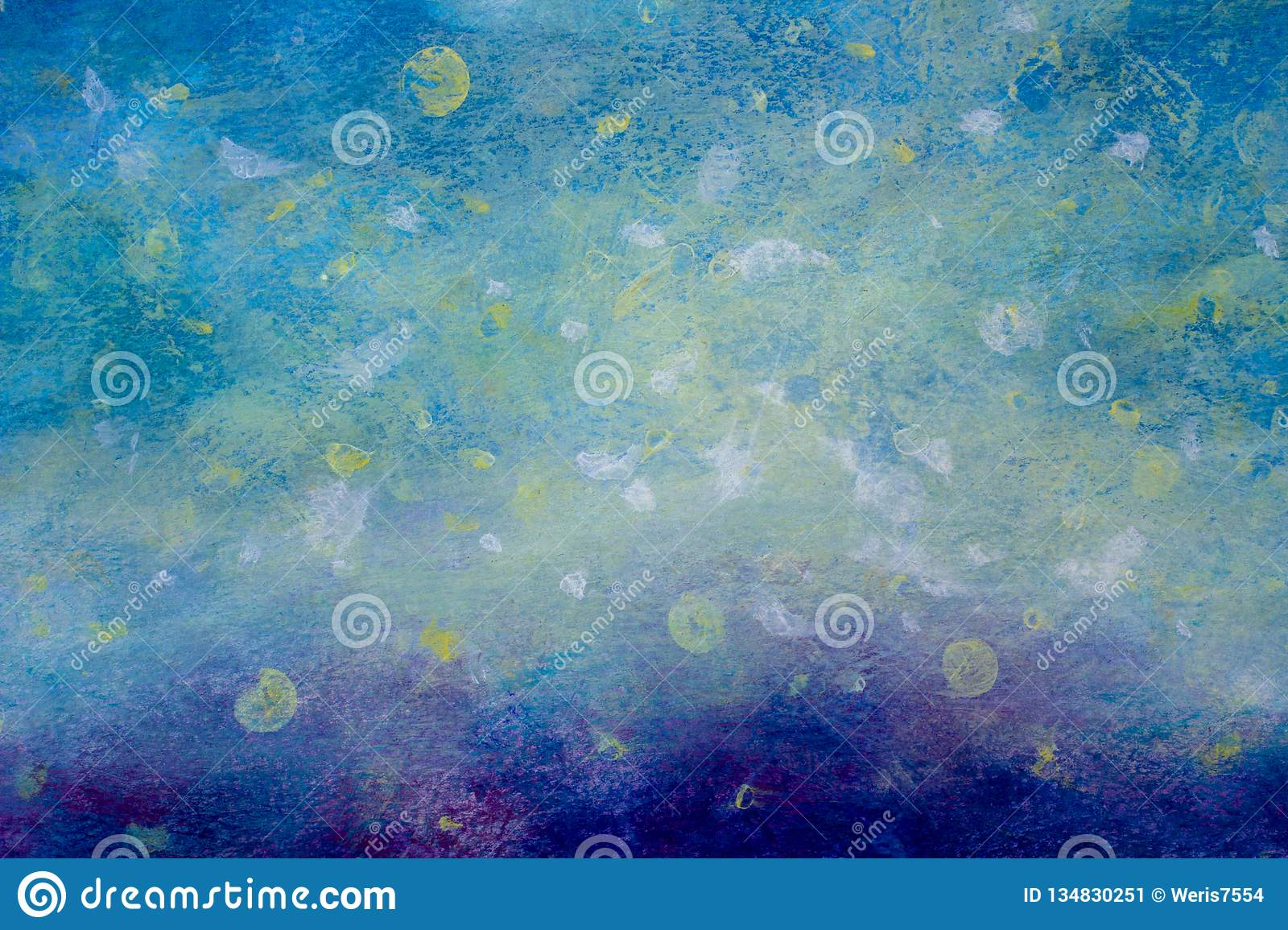 Abstract Cosmos Starry Sky Planet Blue Background Oil