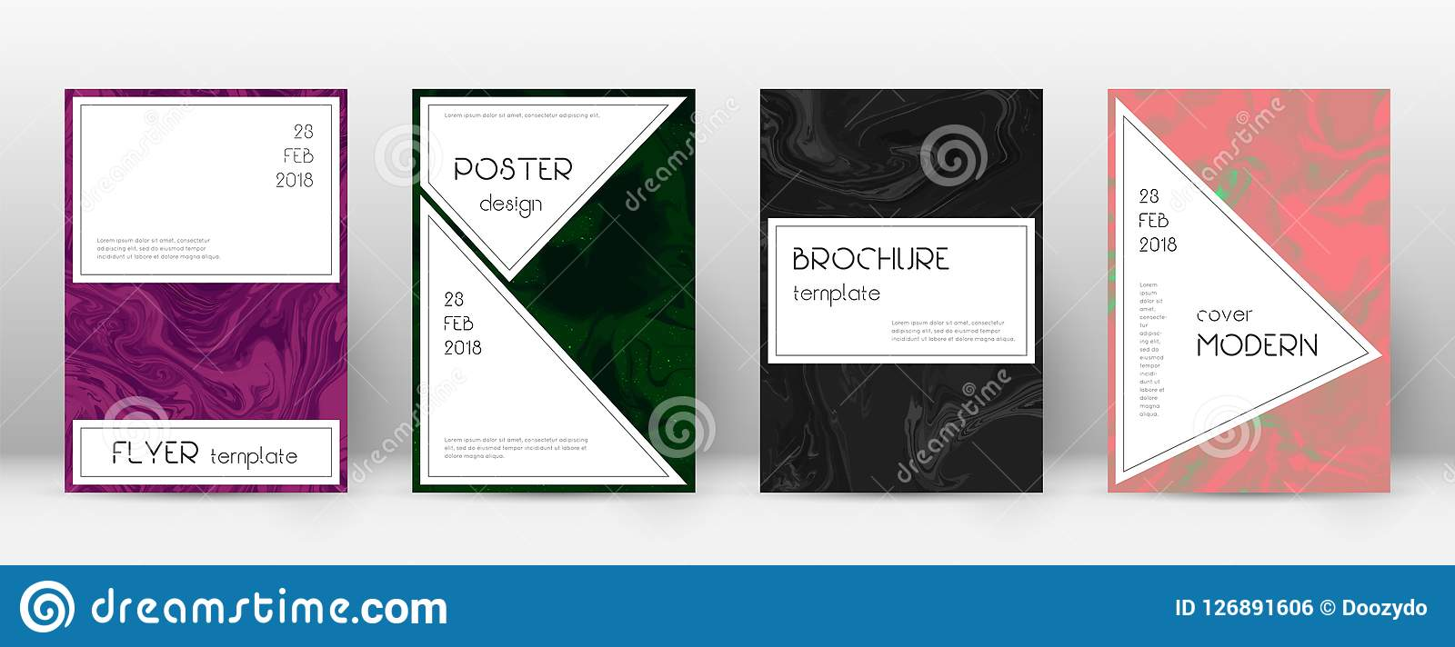 Trendy Poster Designs: Abstract Cover. Amazing Design Template. Suminagashi