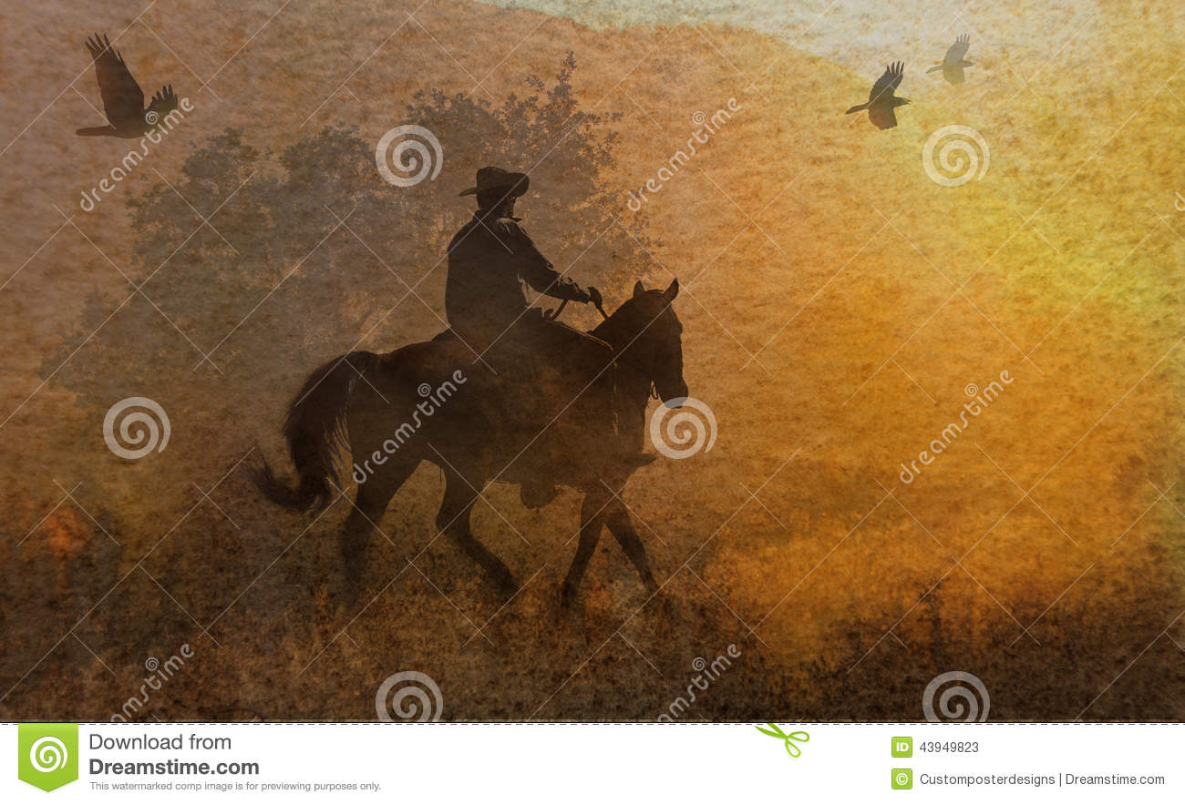 Download An Abstract Cowboy Riding In A Meadow With Trees, Crows Flying Above And A Textured Watercolor Yellow Background. Stock Image - Image of designed, equestrian: 43949823