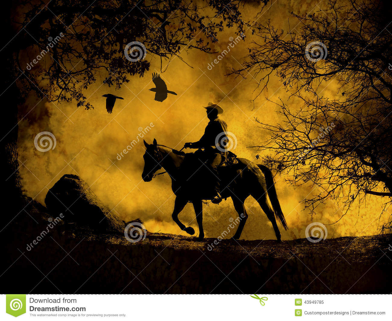 Download An Abstract Cowboy Riding In The Mountains With Trees, Crows Flying Above And A Textured Watercolor Yellow Background. Stock Image - Image of black, design: 43949785