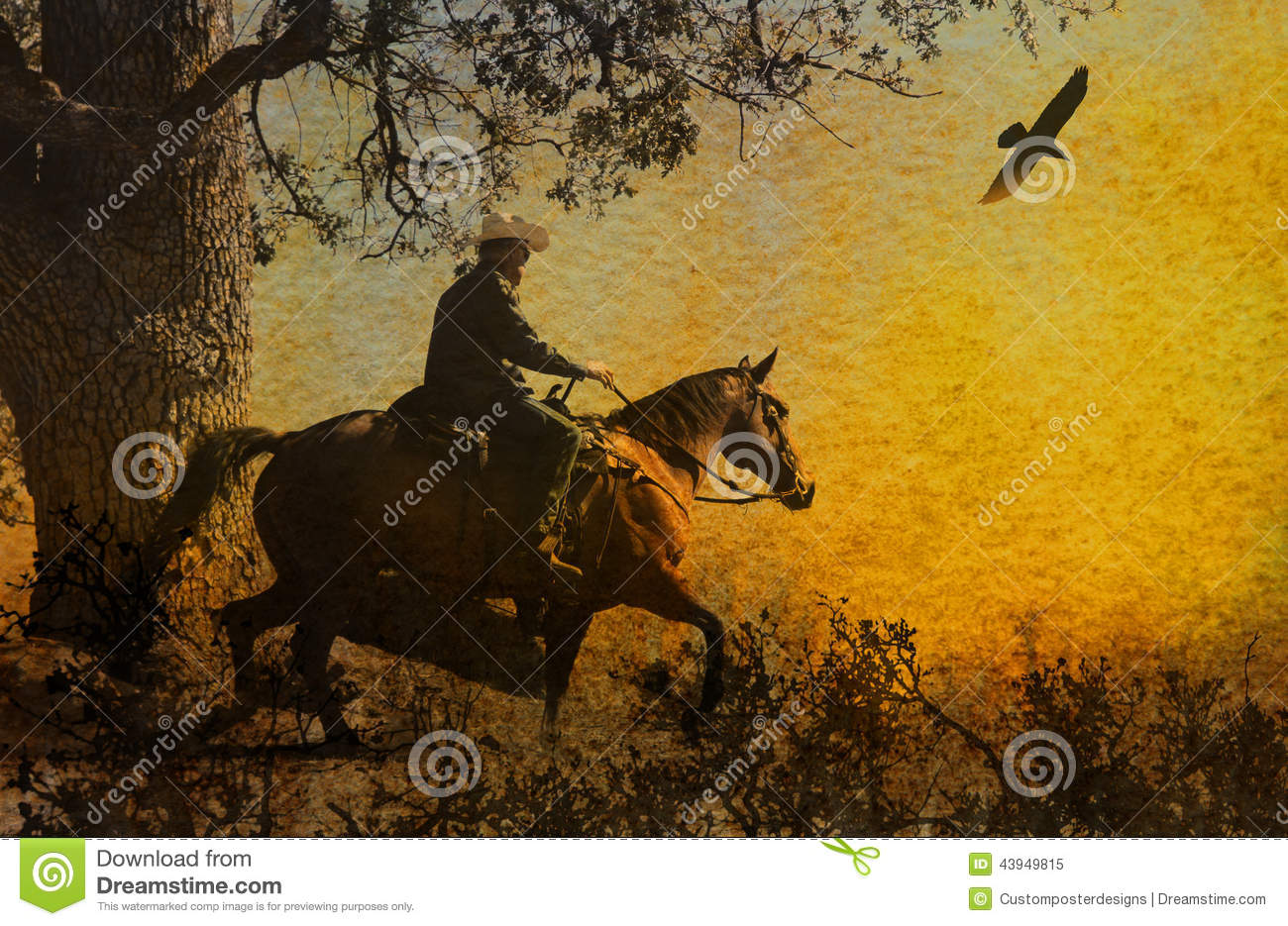 Download An Abstract Cowboy Riding In The Mountains With Trees, Crows Flying Above And A Textured Watercolor Yellow Background. Stock Image - Image of gothic, layers: 43949815