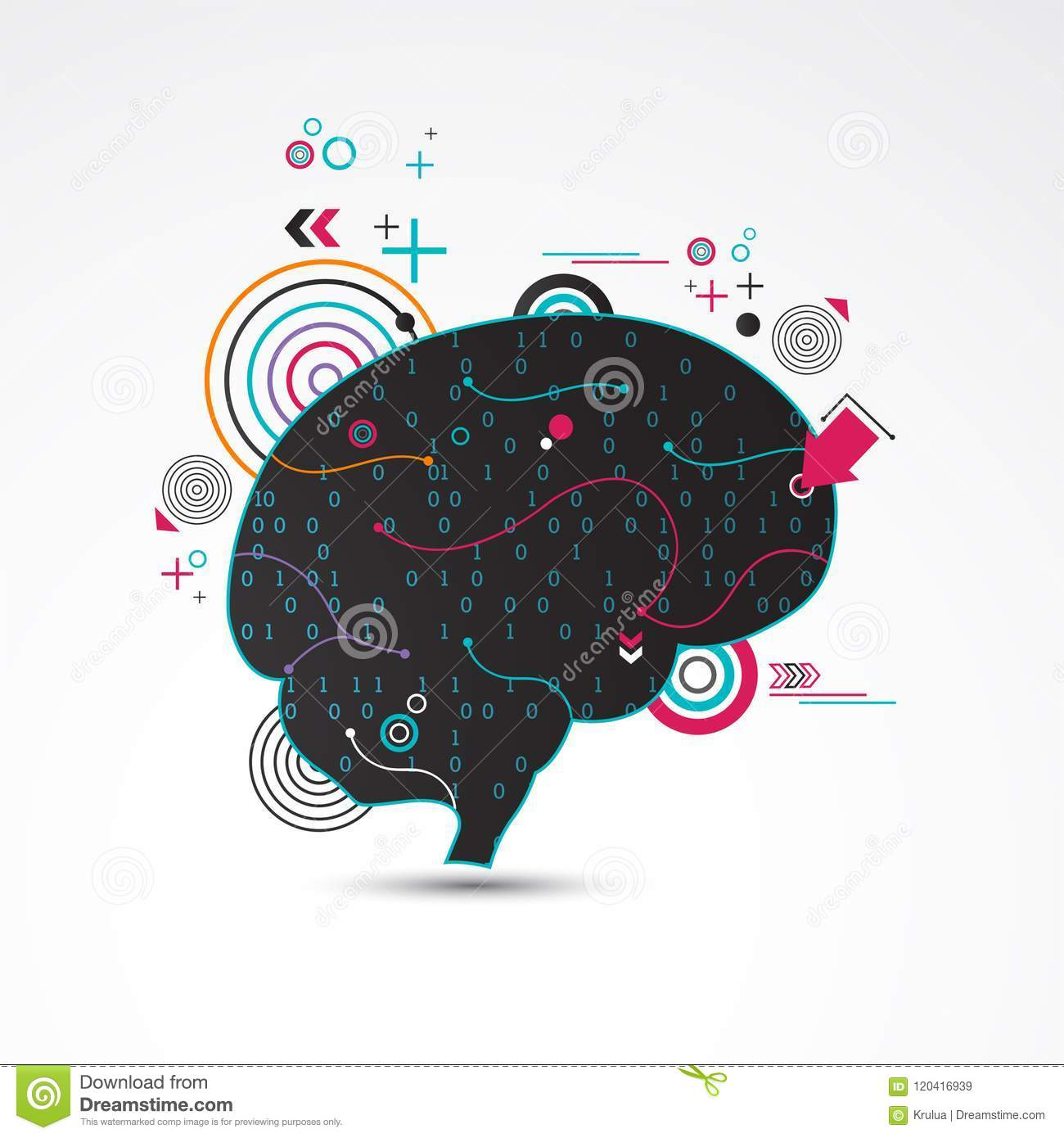 Vector Colorful Computer Brain Drawing Pictures Circuit Board Letters Colourbox Abstract Creative Concept Stock Illustration 1300x1390