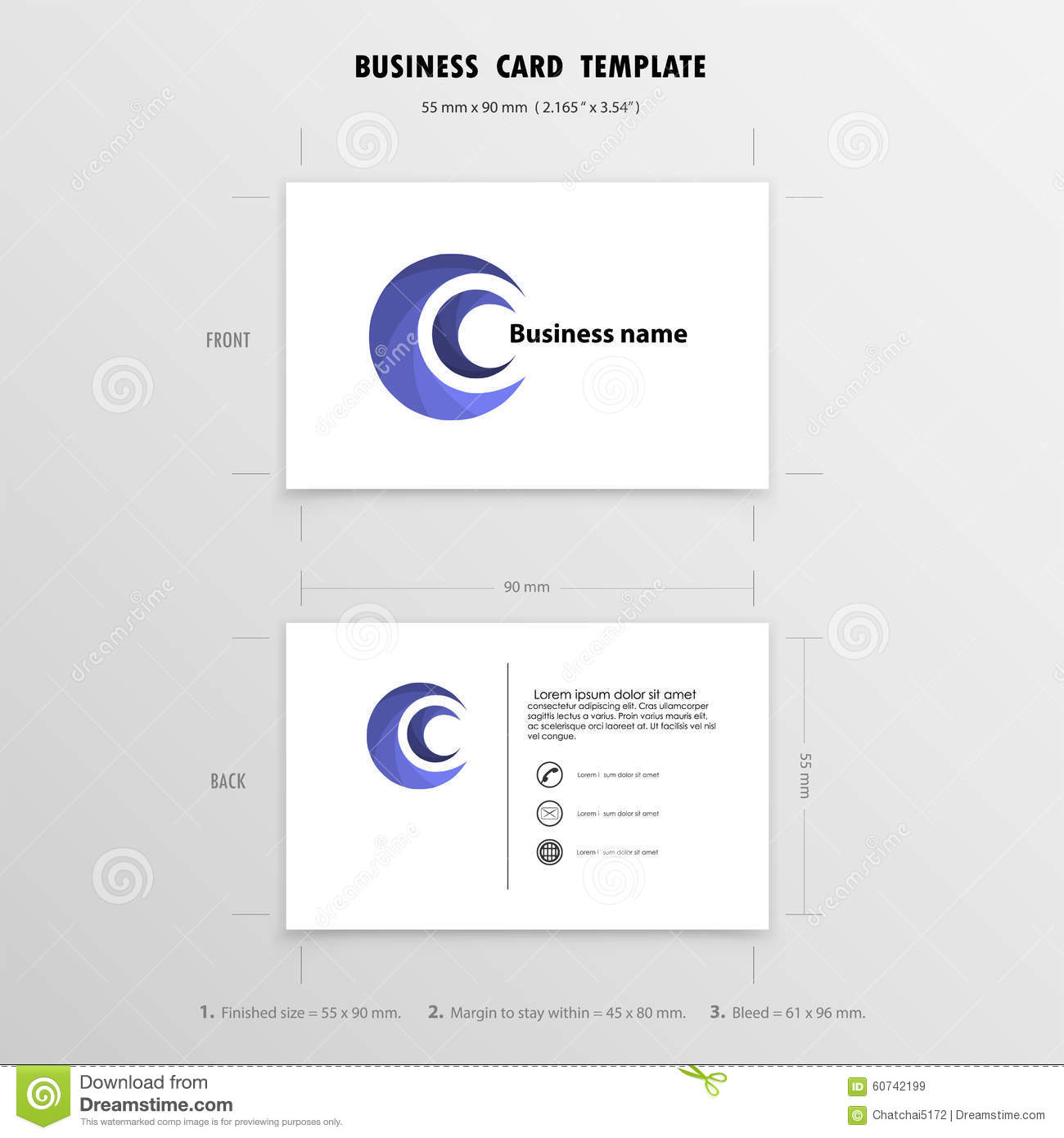 Abstract creative business cards design template name for Creative interior design name card