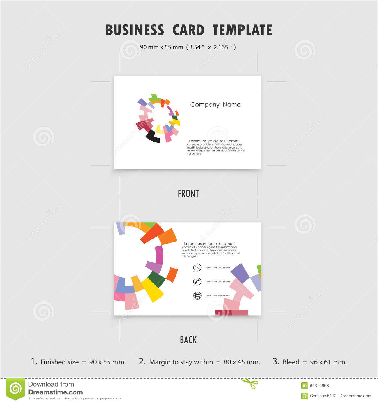 Abstract Creative Business Cards Design Template Size