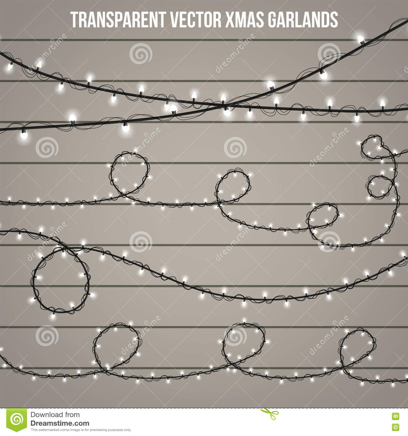 Christmas Chain Clipart.Abstract Creative Christmas Garland Light Isolated On