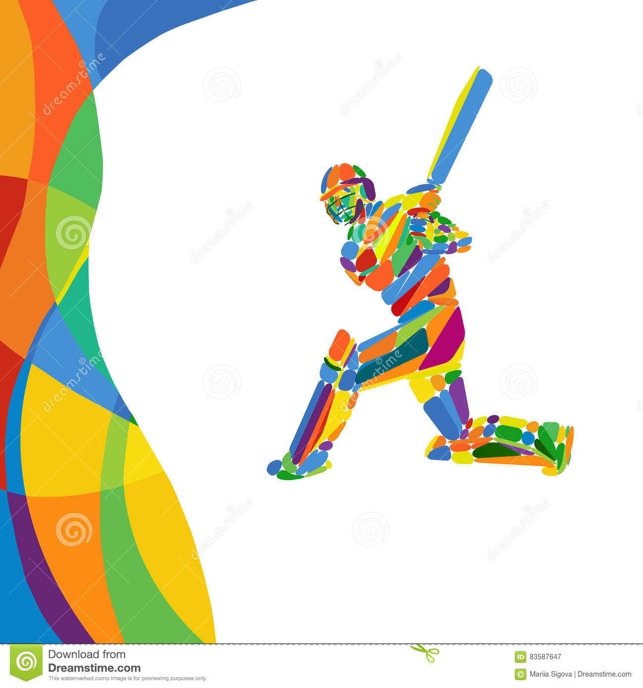 abstract cricket player vector color illustration stock
