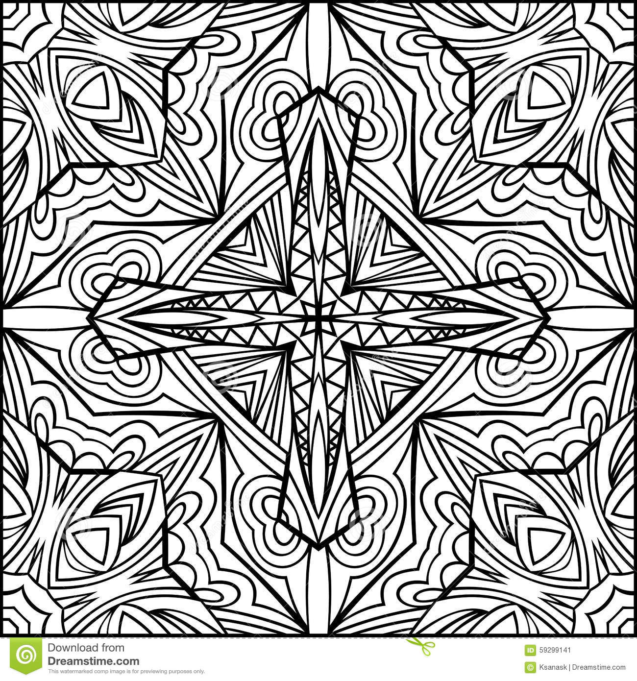 Abstract Cross Coloring Pages : Abstract cross zentangle style black and white ornament