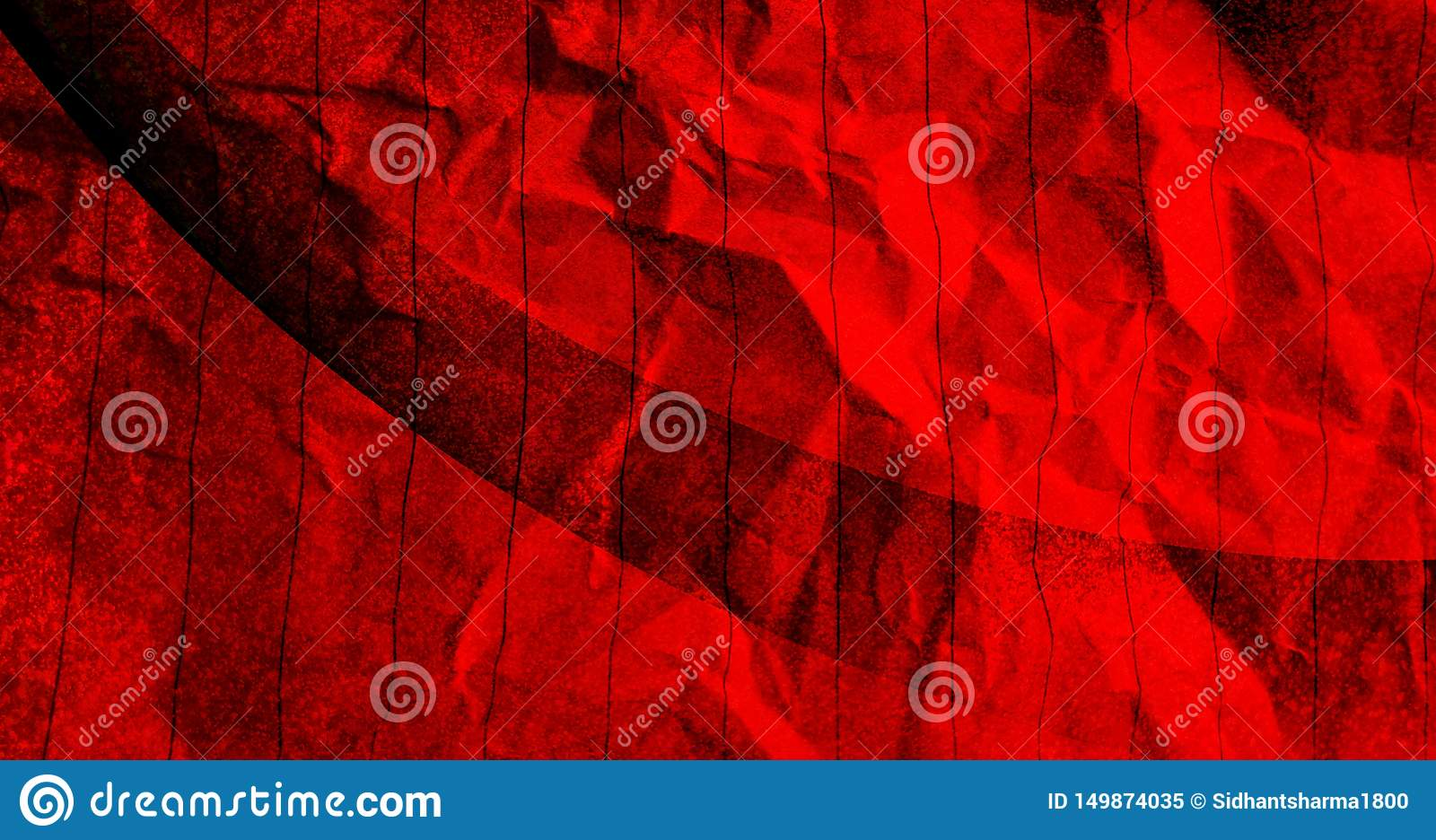 Abstract Crumpled paper red with black color mixture effects with texture background.