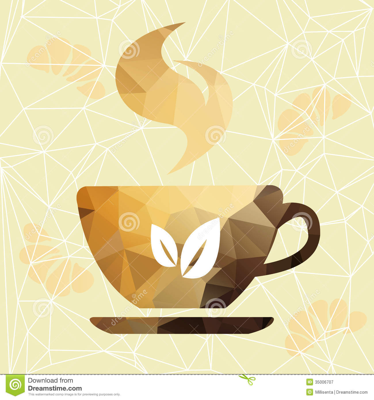 Abstract Cup Of Coffee On A Geometric Background. Royalty