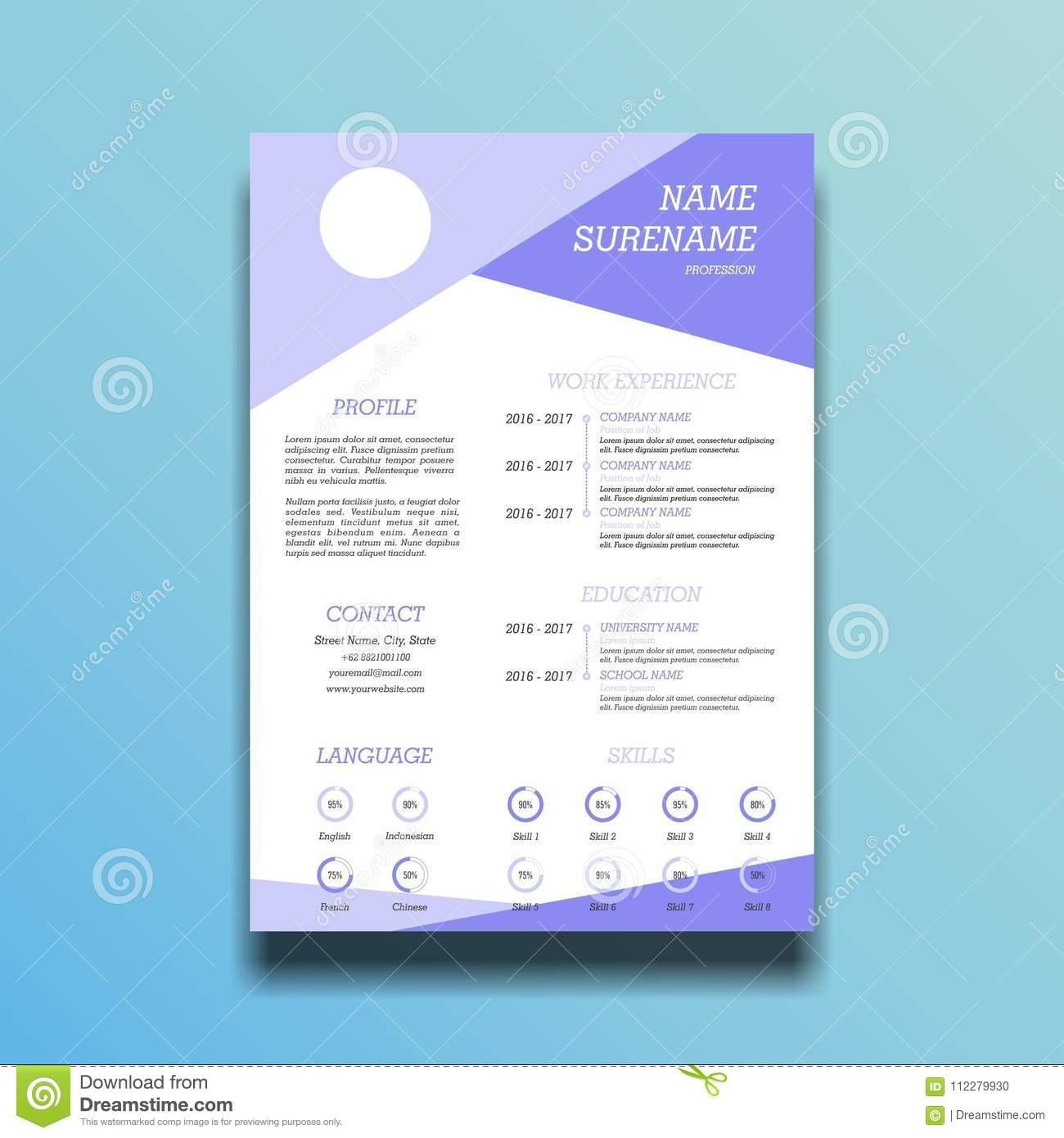 Abstract Curriculum Vitae Template Stock Vector Illustration Of