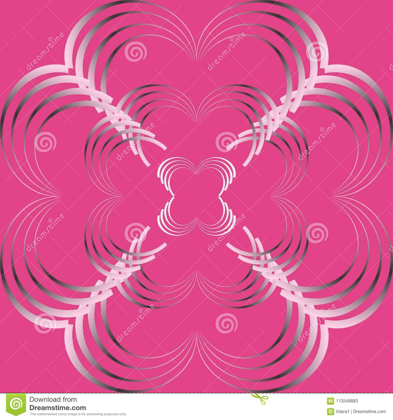 Abstract Curve Pattern In Gradient Pink And Black Colored On Dark