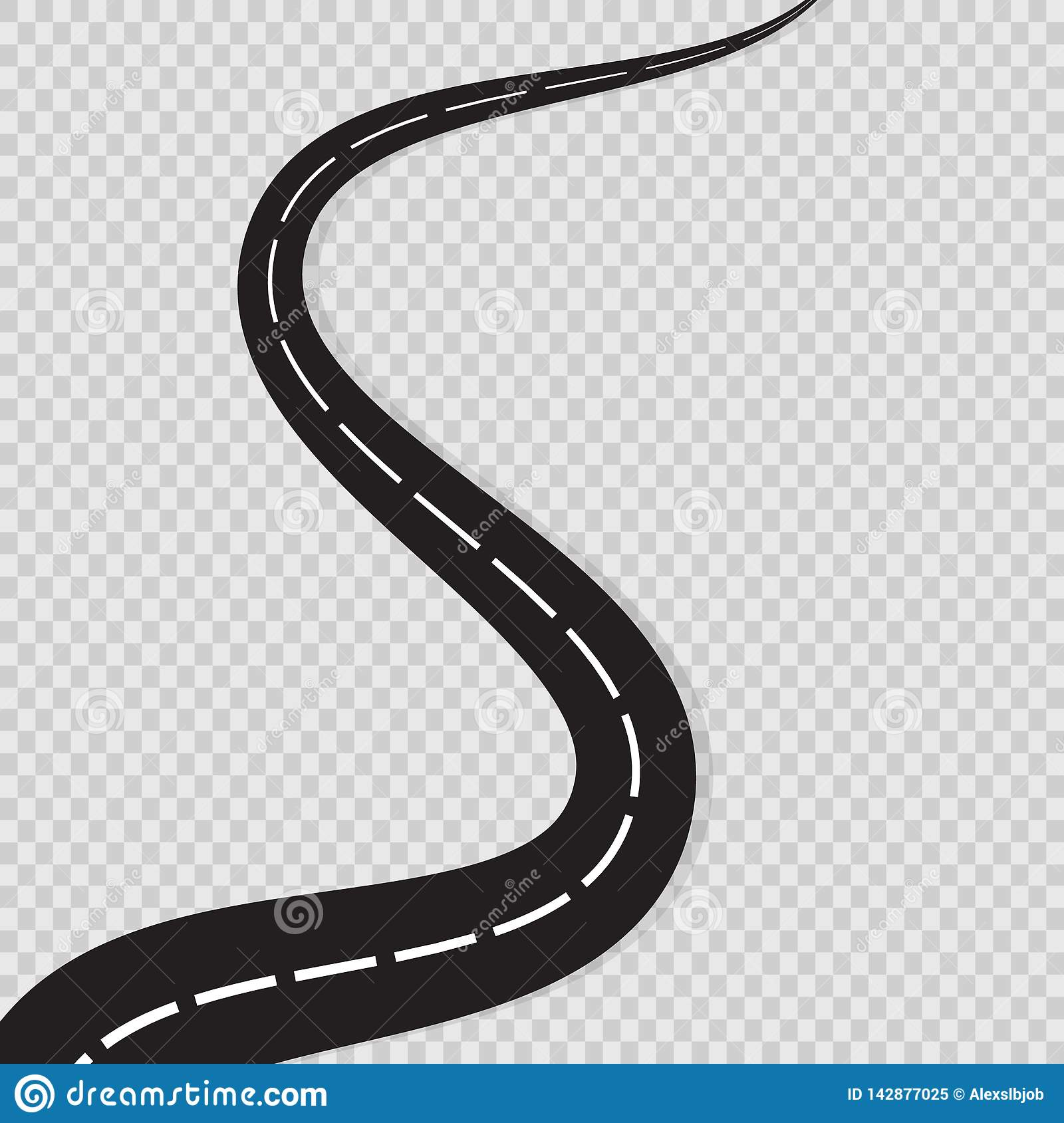 Abstract Curved Road Asphalt, Roads Isolated On Transparent ...